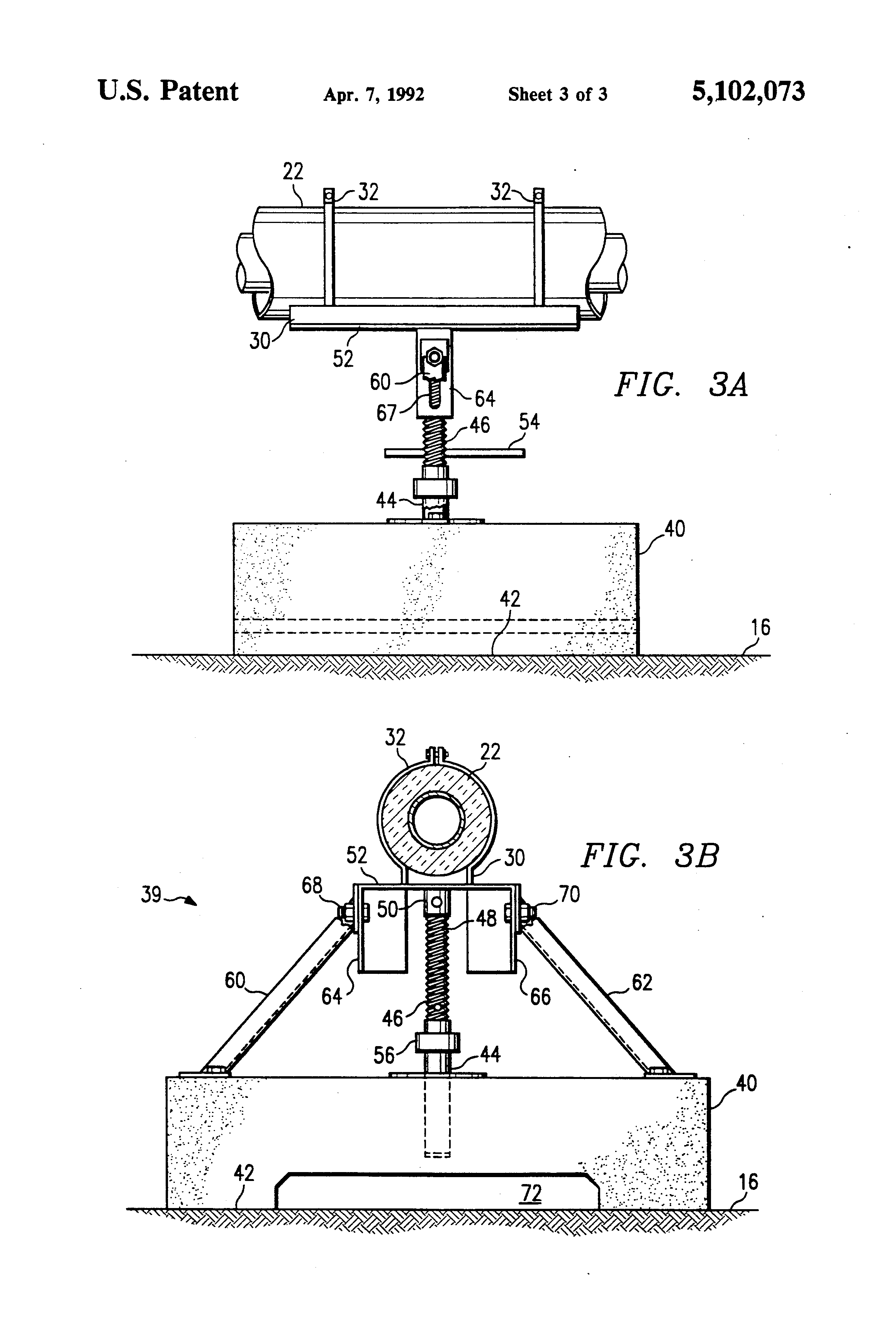 Patent us freestanding concrete pipe support