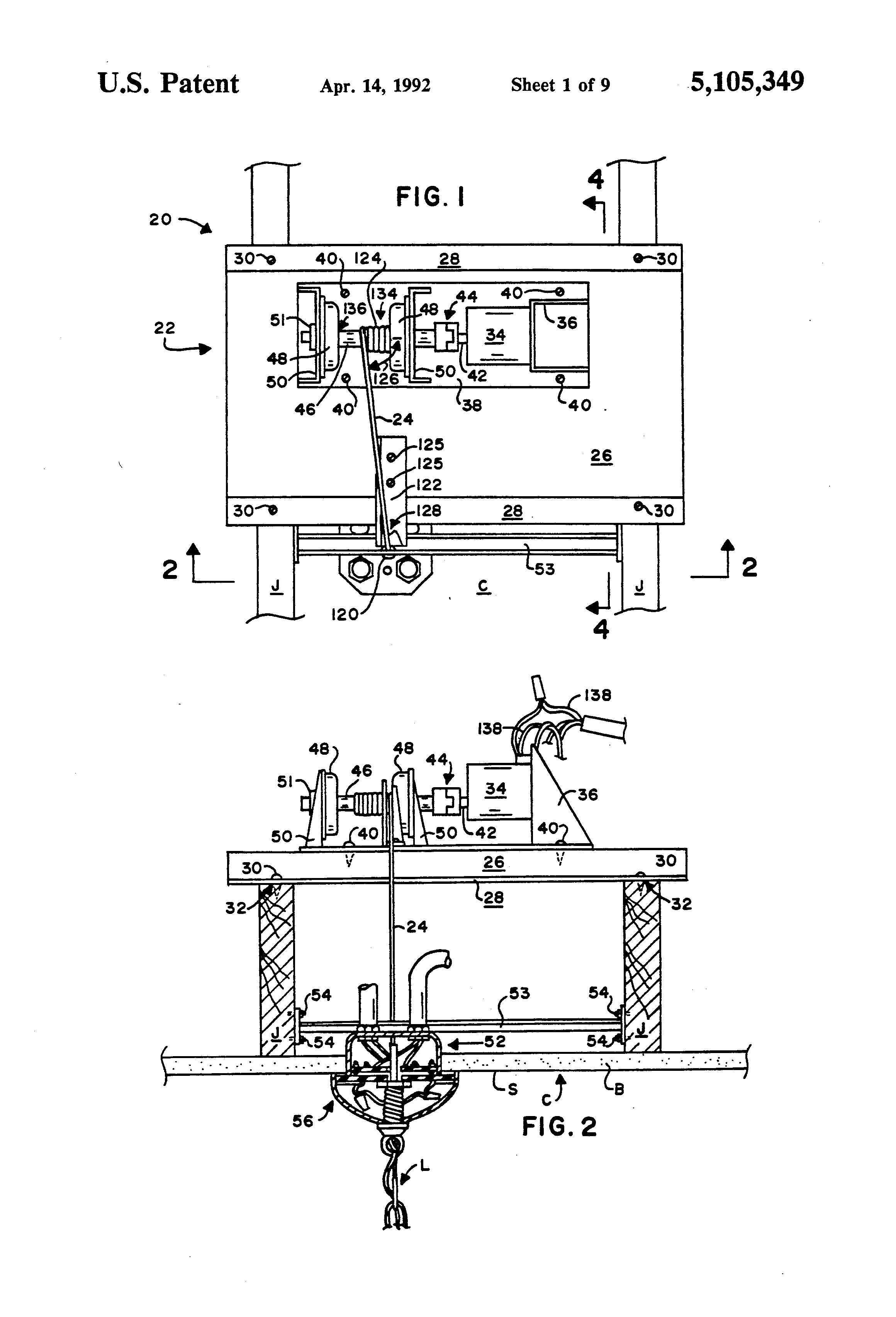 Patent us5105349 motorized chandelier lift system google patents patent drawing arubaitofo Choice Image
