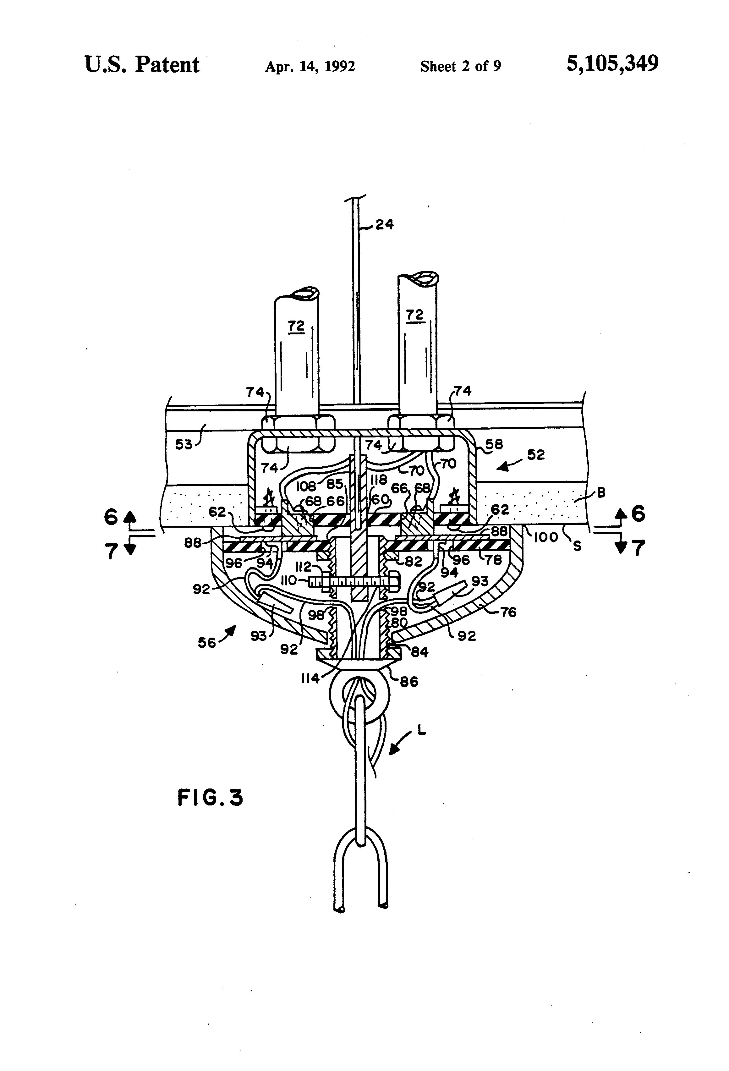 patent us5105349 motorized chandelier lift system