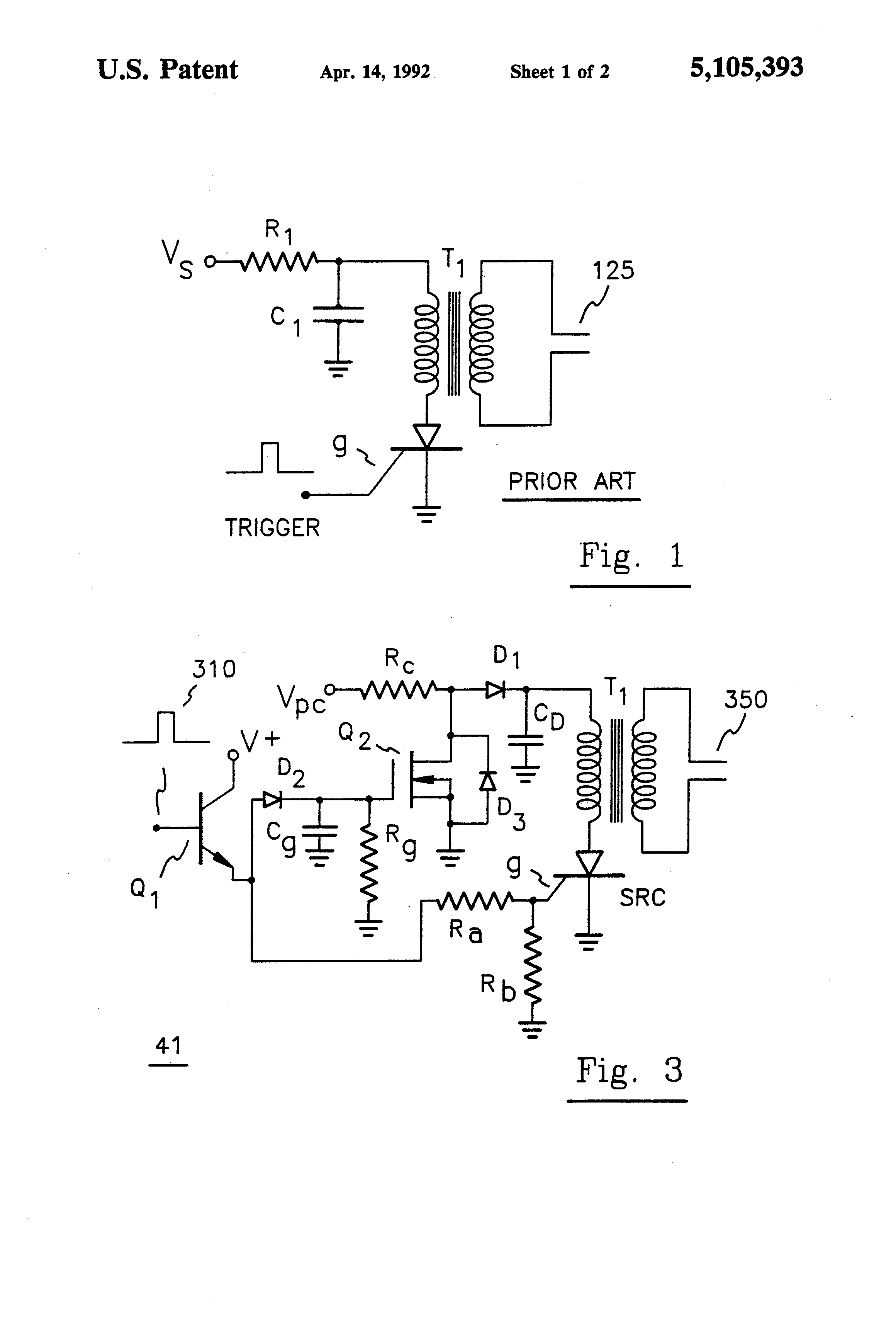 Patent Us5105393 Scr Control For High Current Discharge Circuit Drawing