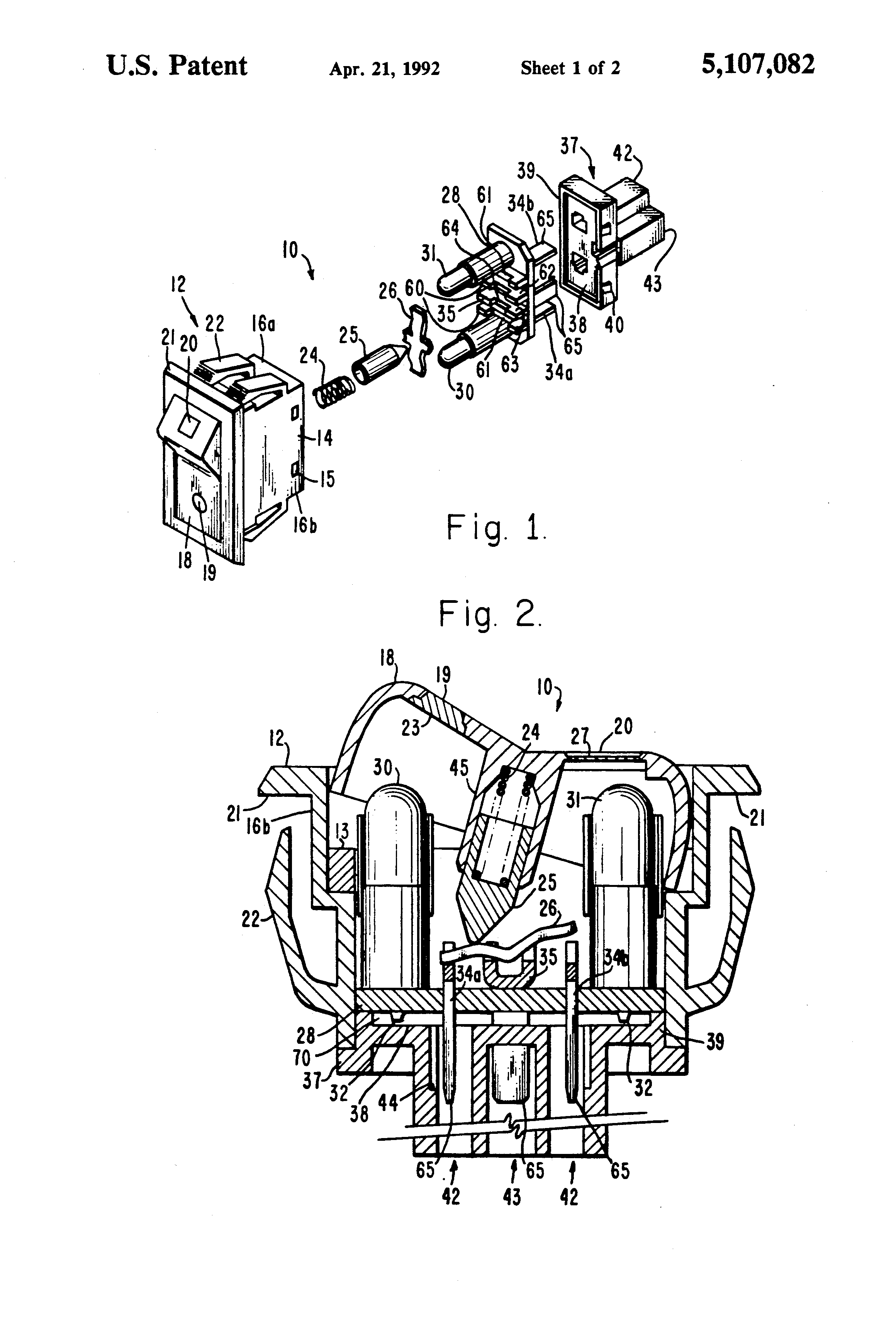 patent us5107082 - dual lighted rocker switch embodying a printed circuit board