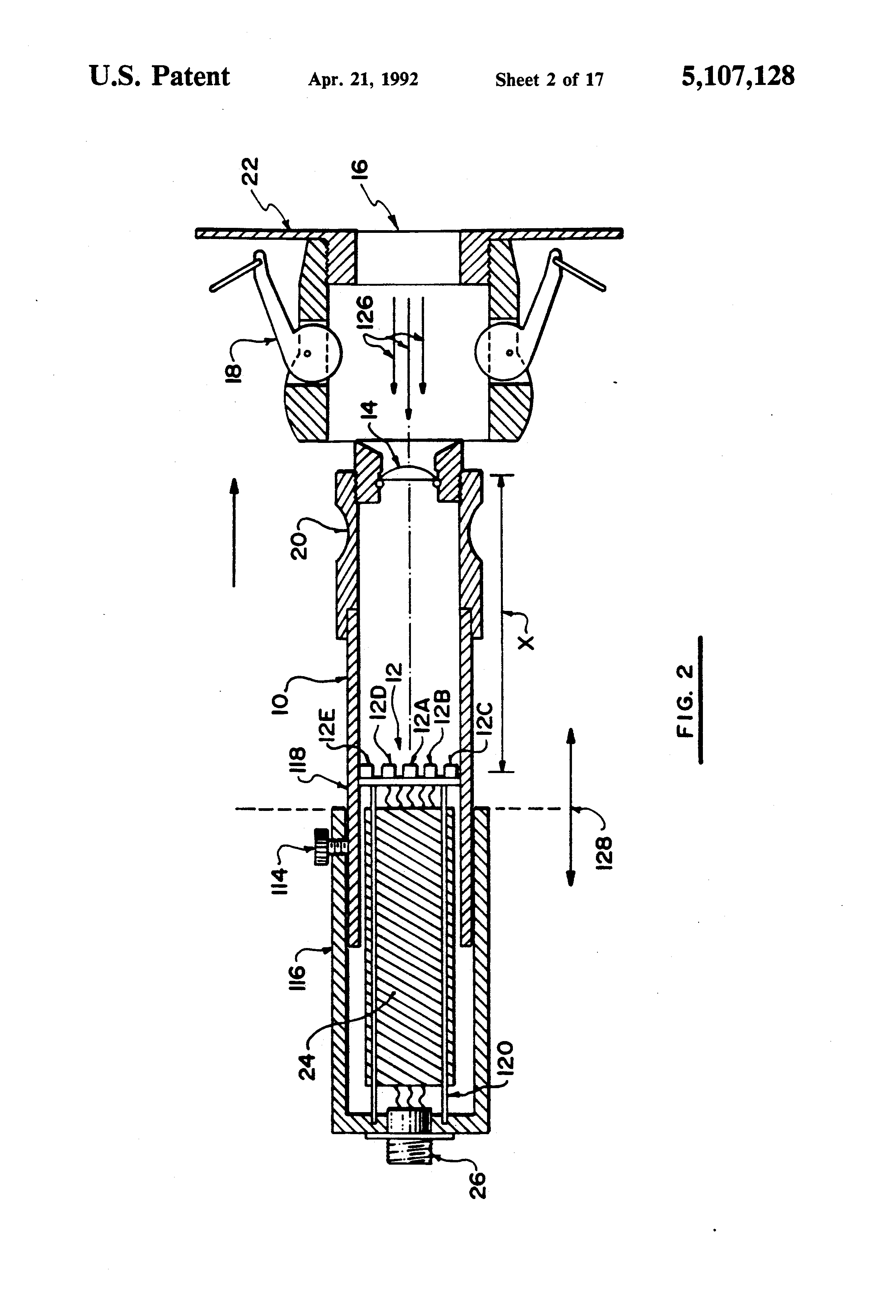 patent us5107128 method and apparatus for detecting flame patent drawing