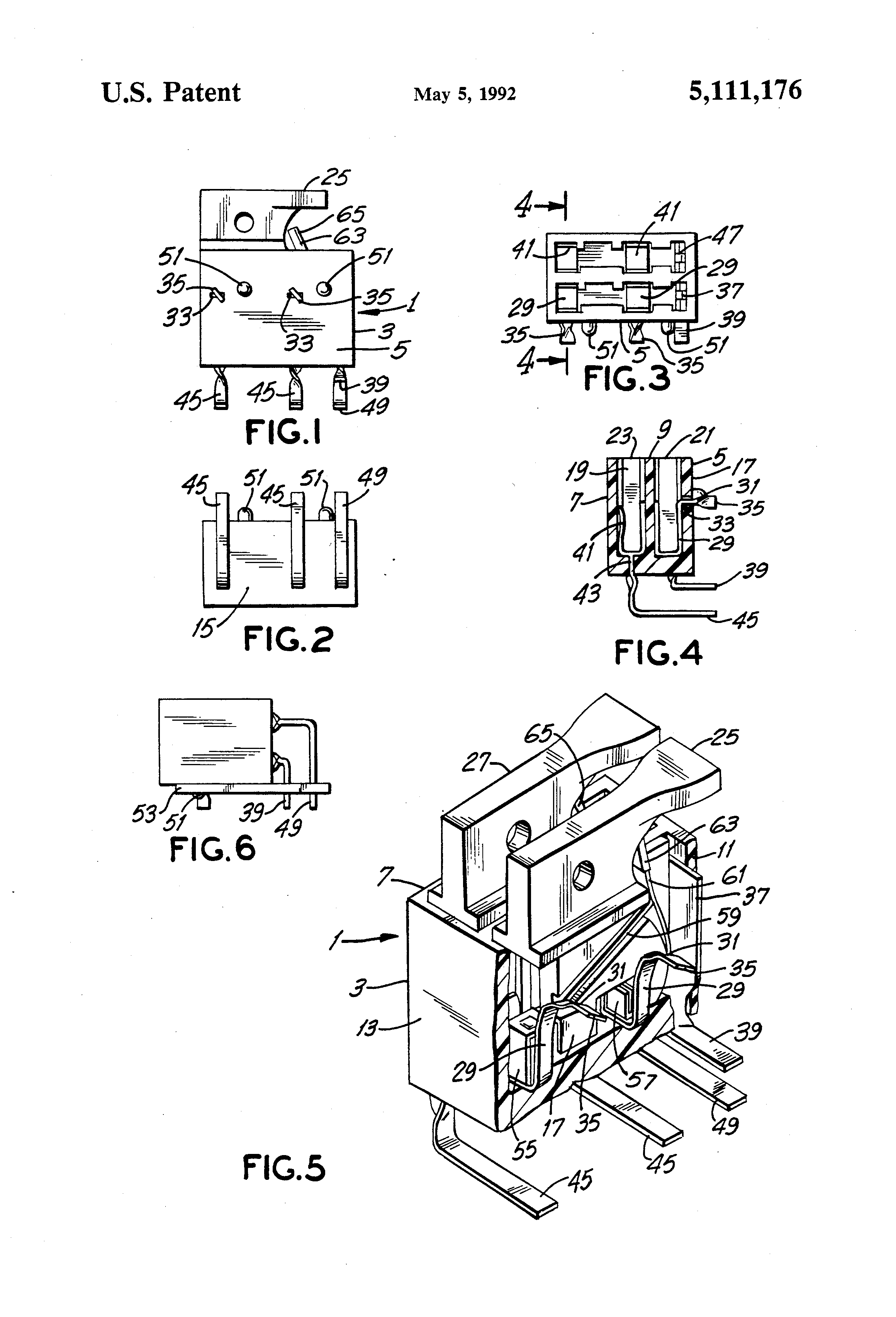 patent us5111176 - dual position  flat mount piggyback fuse holder
