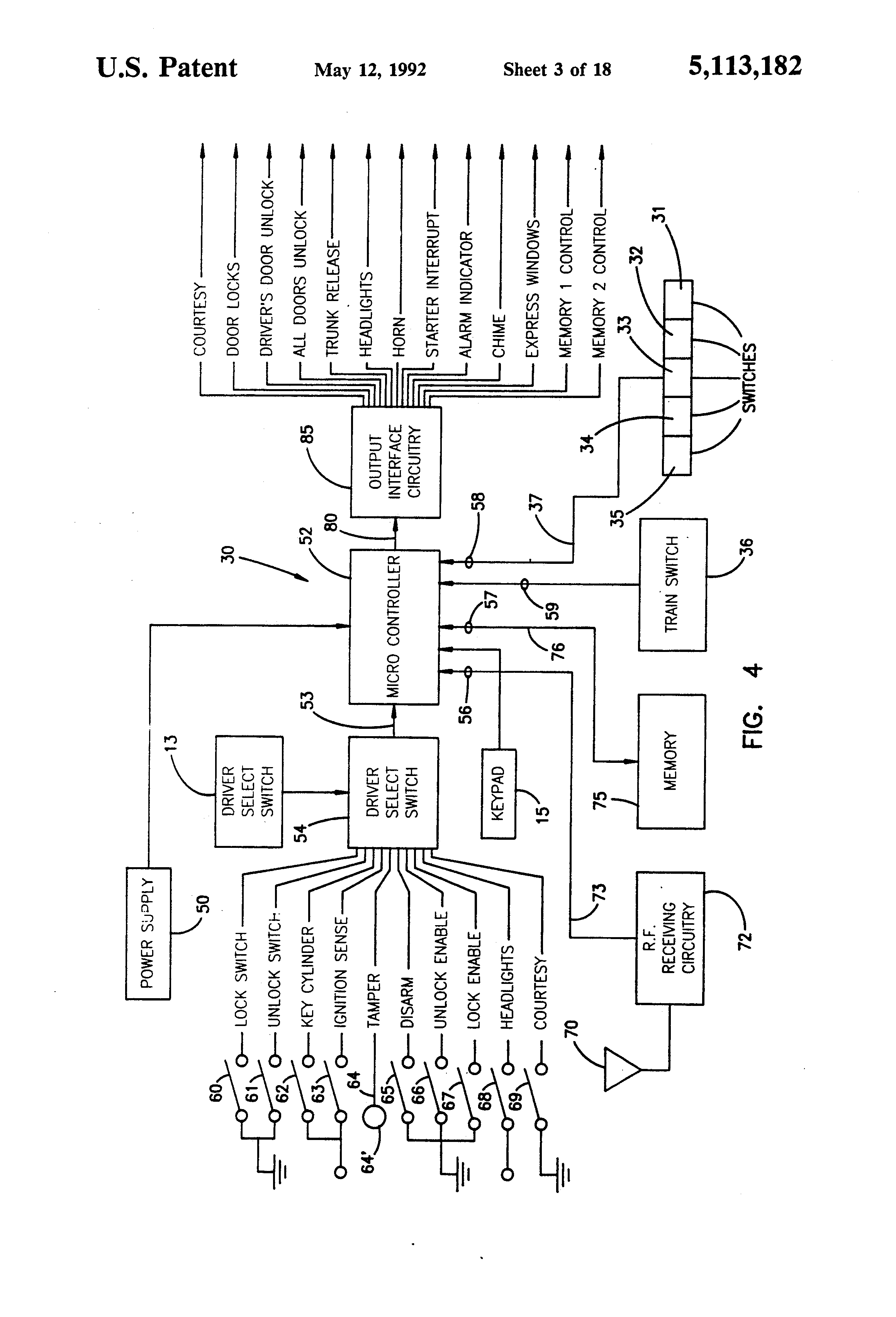 patent us vehicle door locking system detecting that all patent drawing