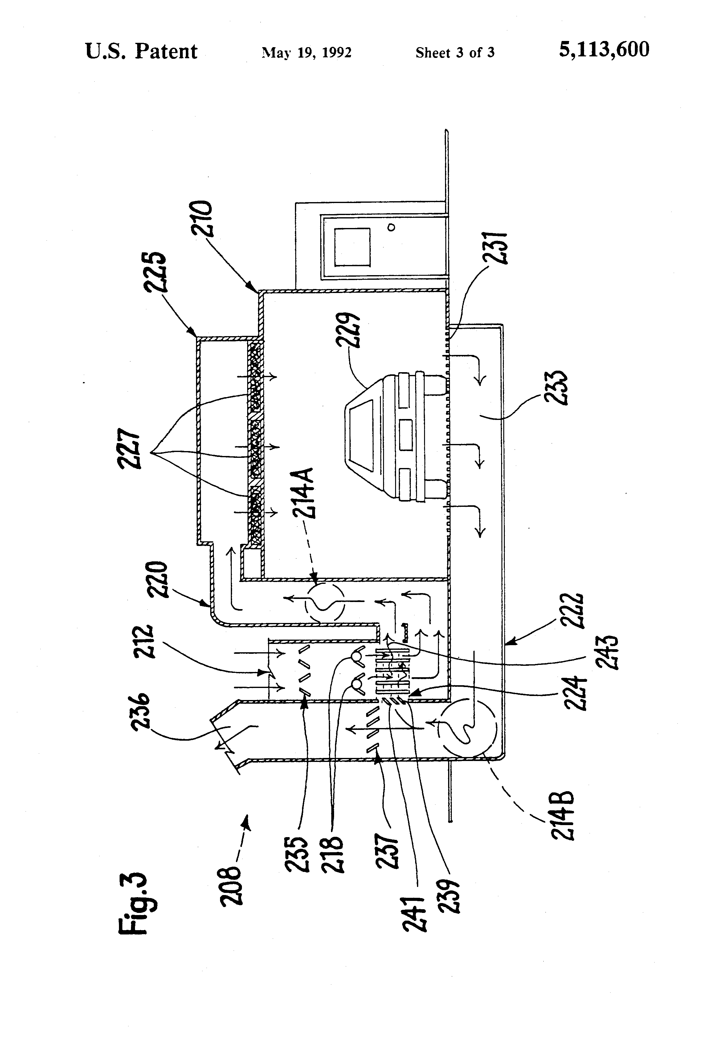 patent us5113600 - combination paint spray booth-drying oven with single air fan