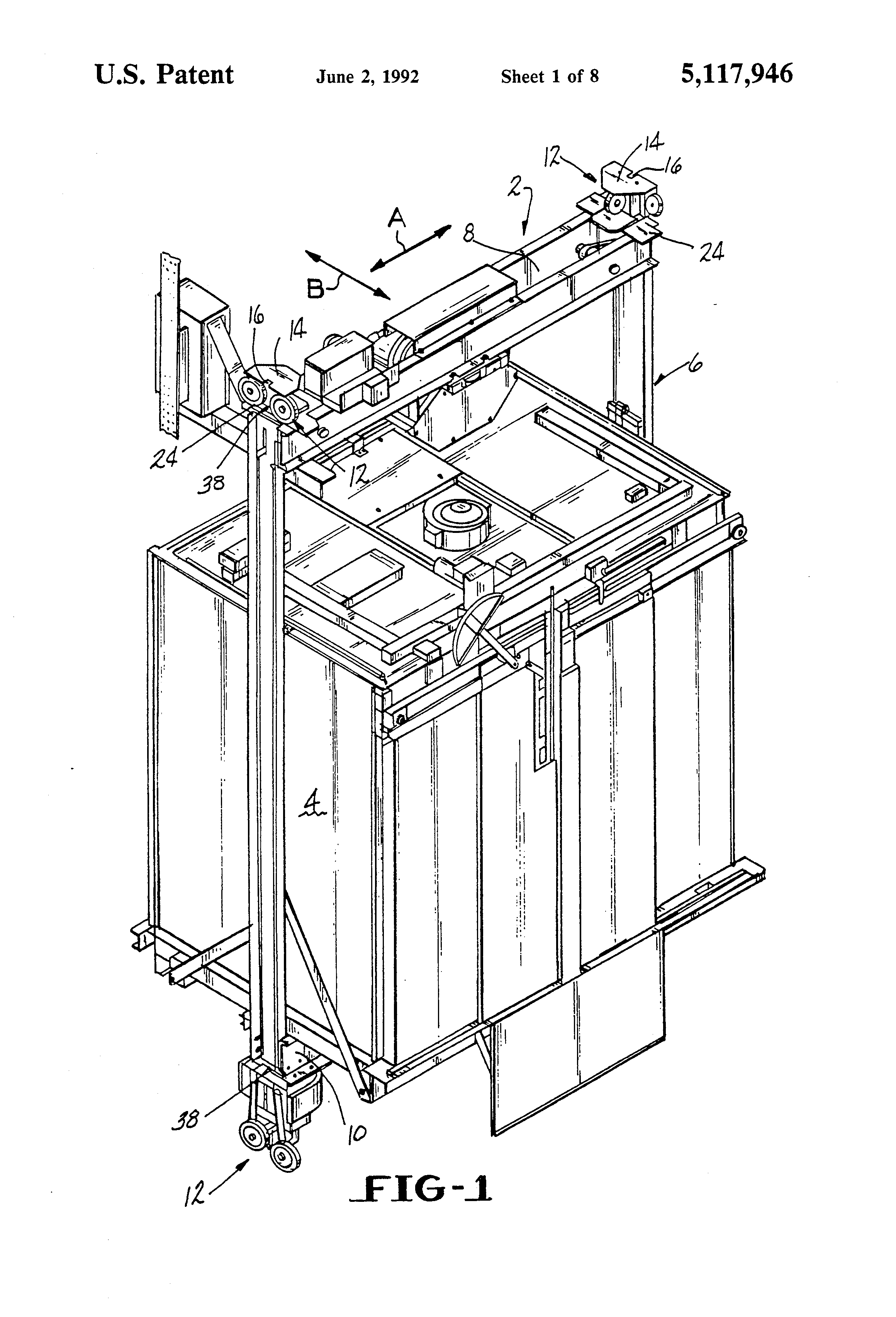 patent us5117946 - elevator cab guidance assembly