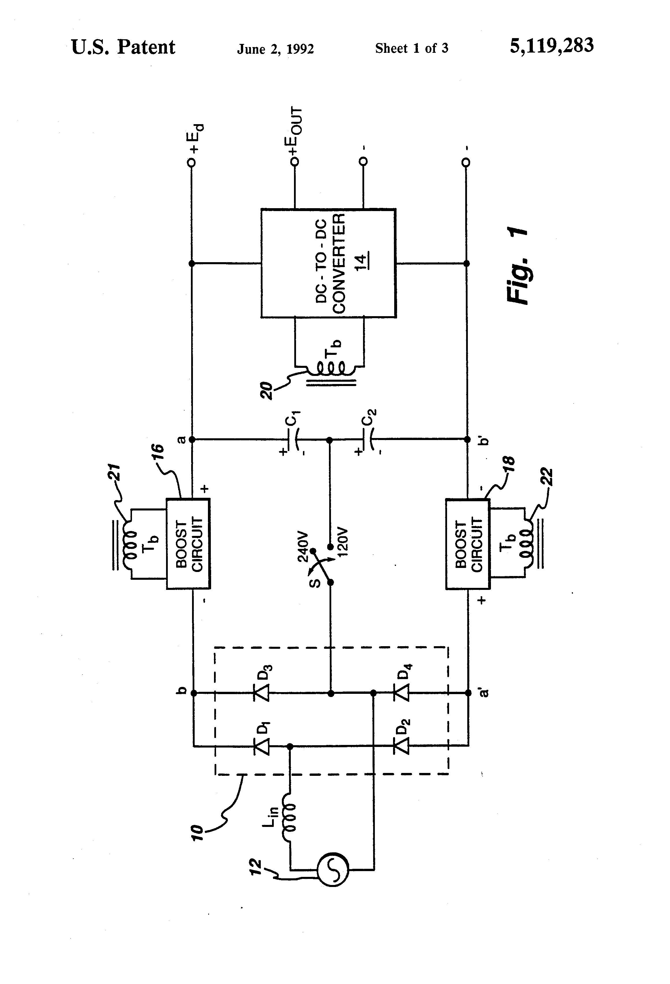 patent us5119283 - high power factor  voltage-doubler rectifier