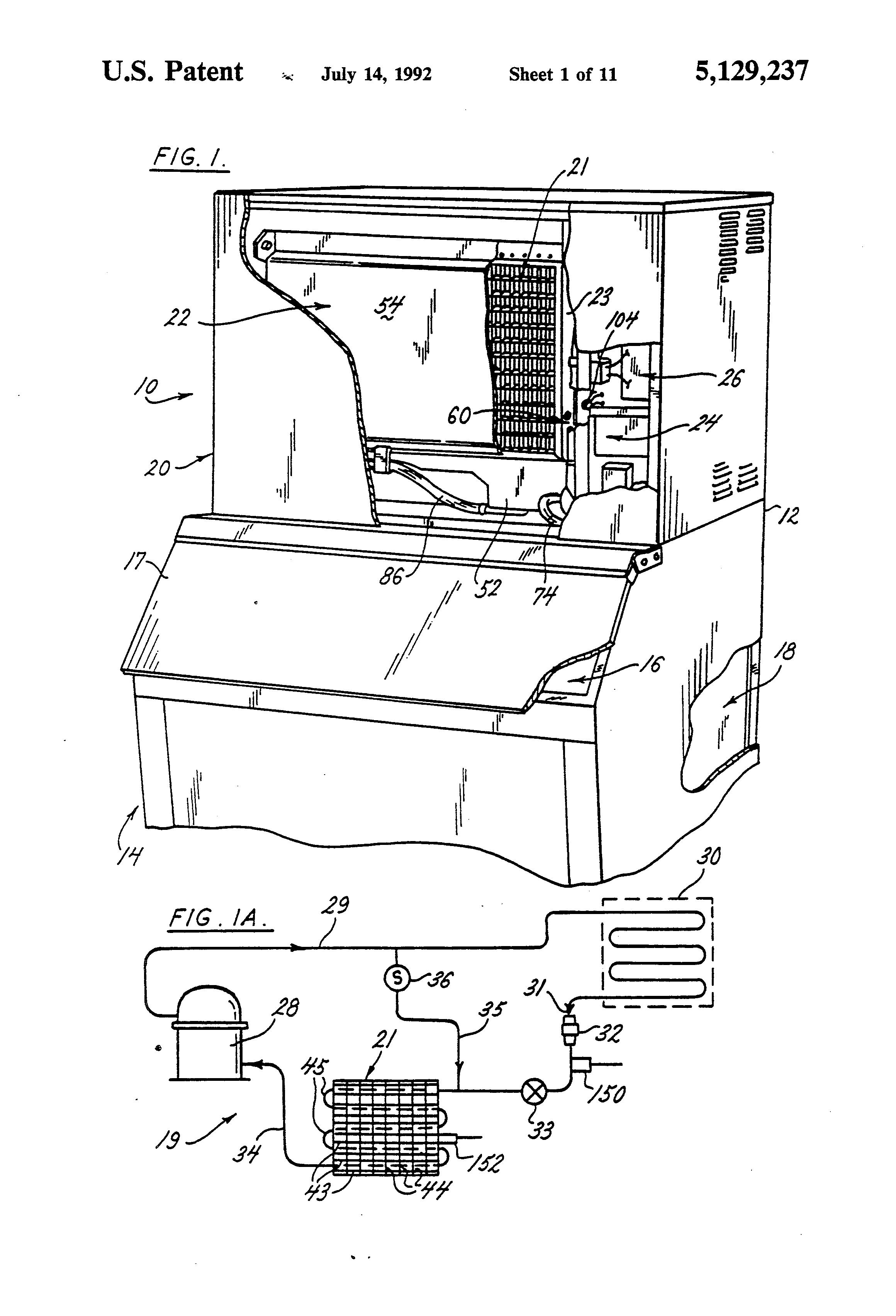 patent us5129237 ice making machine ze and harvest patent drawing