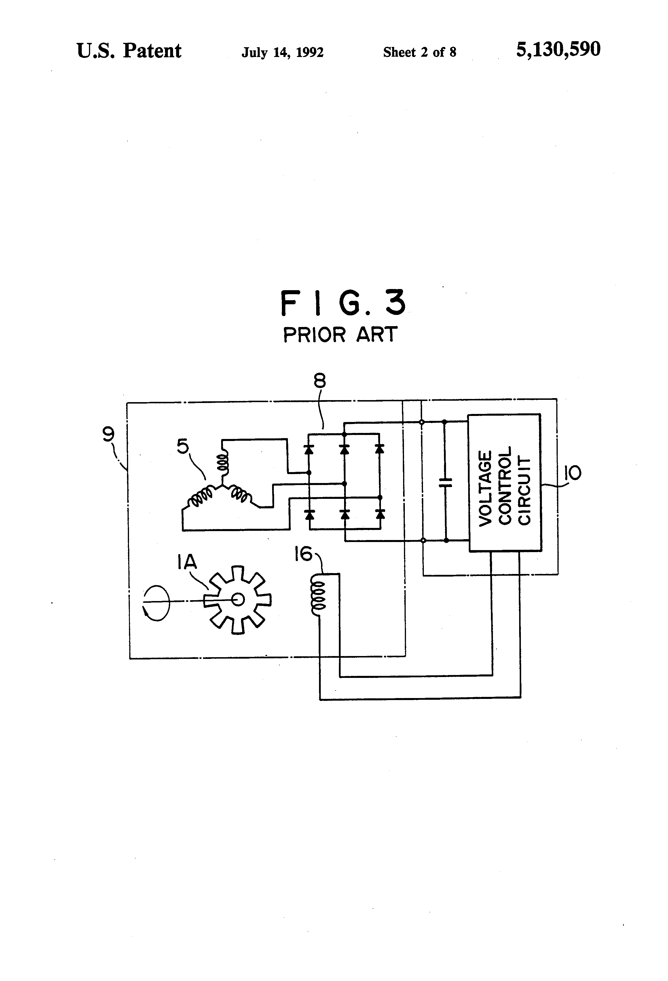 patent us5130590 brushless generator regulated by second rotor