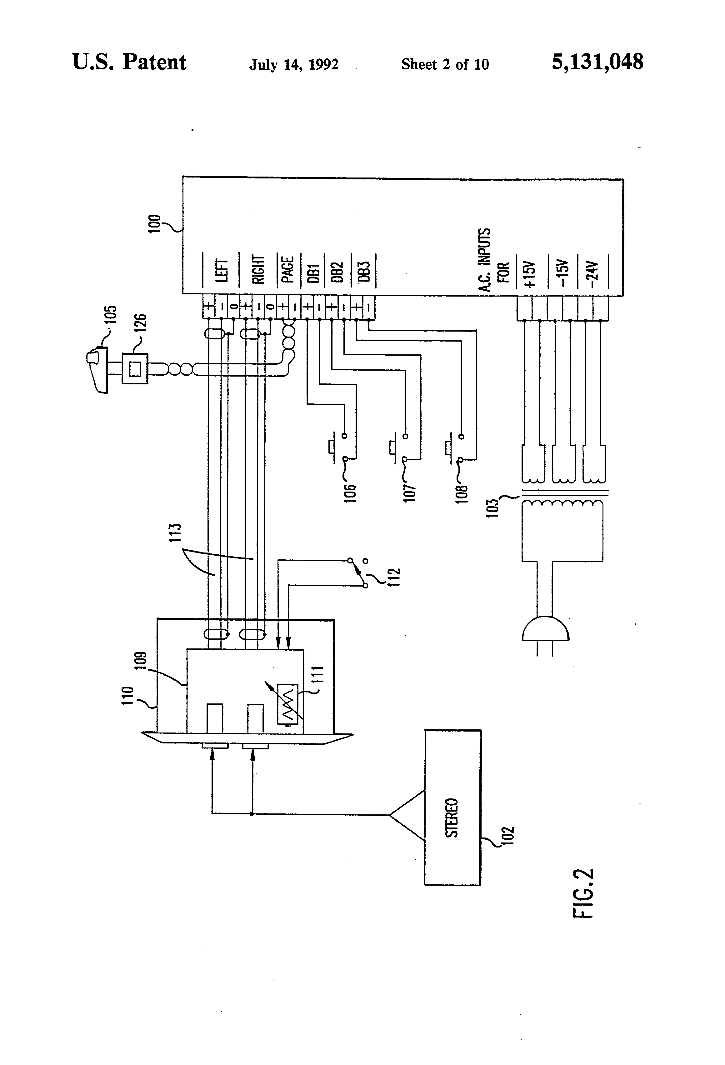 patent us5131048 - audio distribution system
