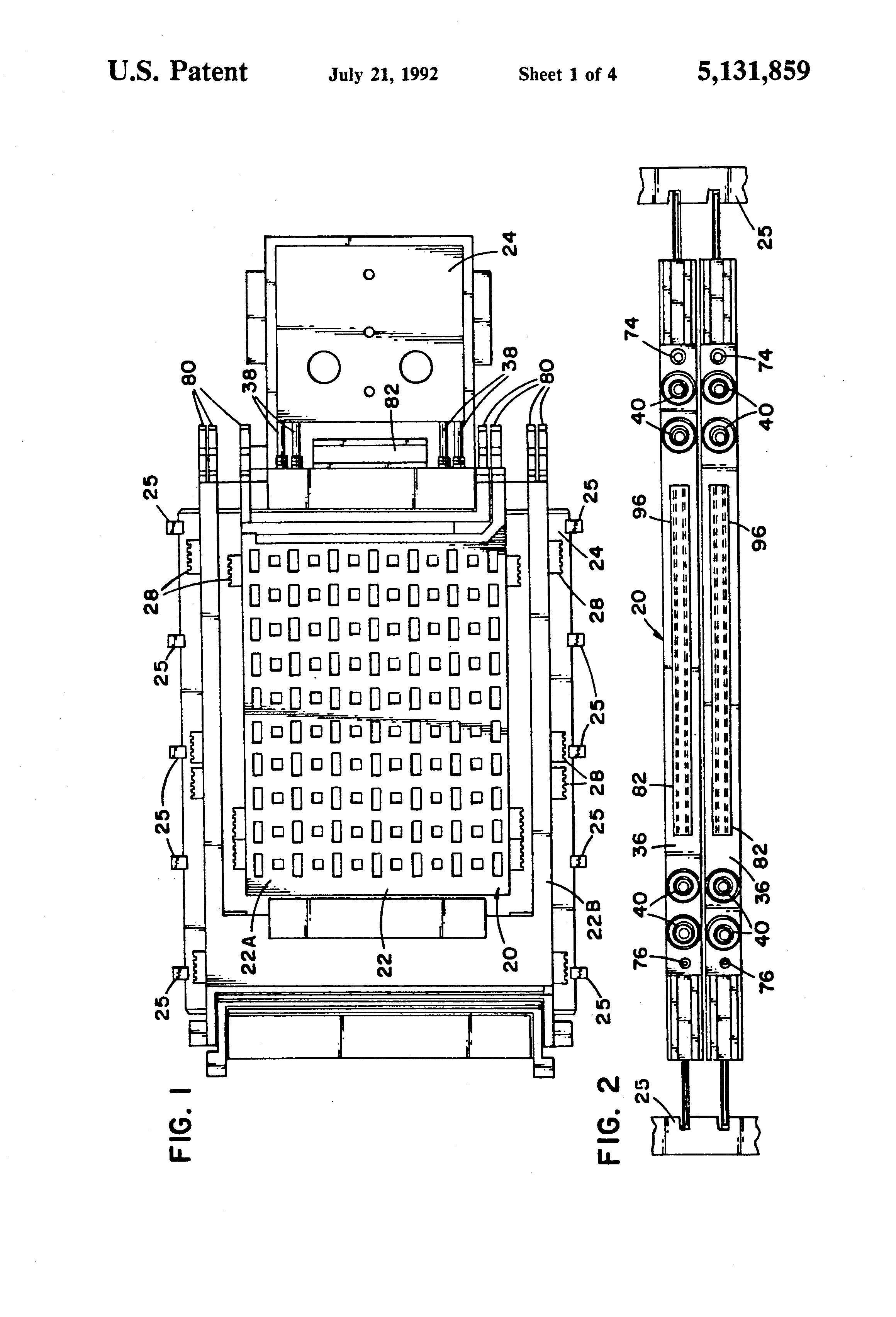 patent us5131859 - quick disconnect system for circuit board modules