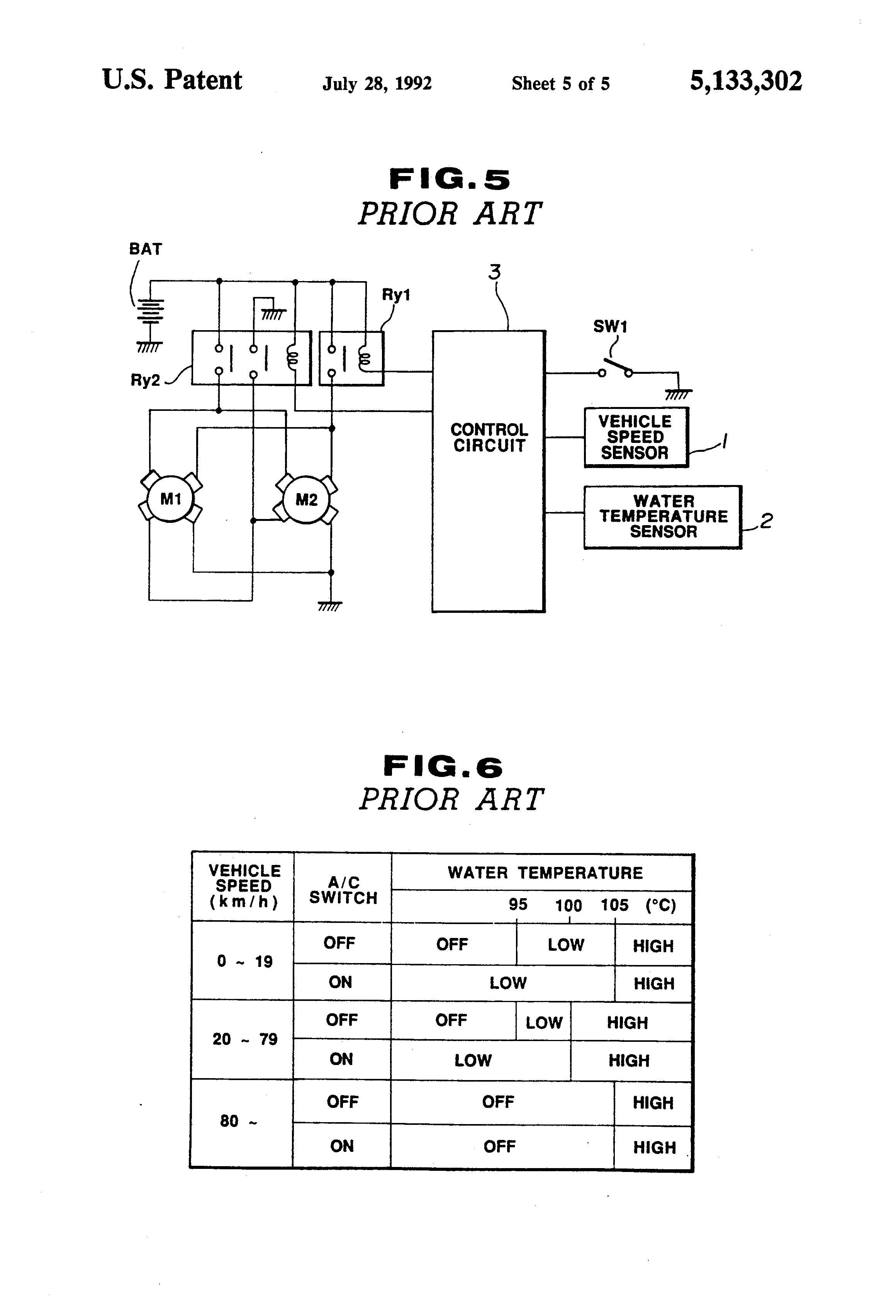 Patent Us5133302 Electric Motor Fan Control System For Vehicle Automatic Switch Circuit Controlcircuit Diagram Drawing