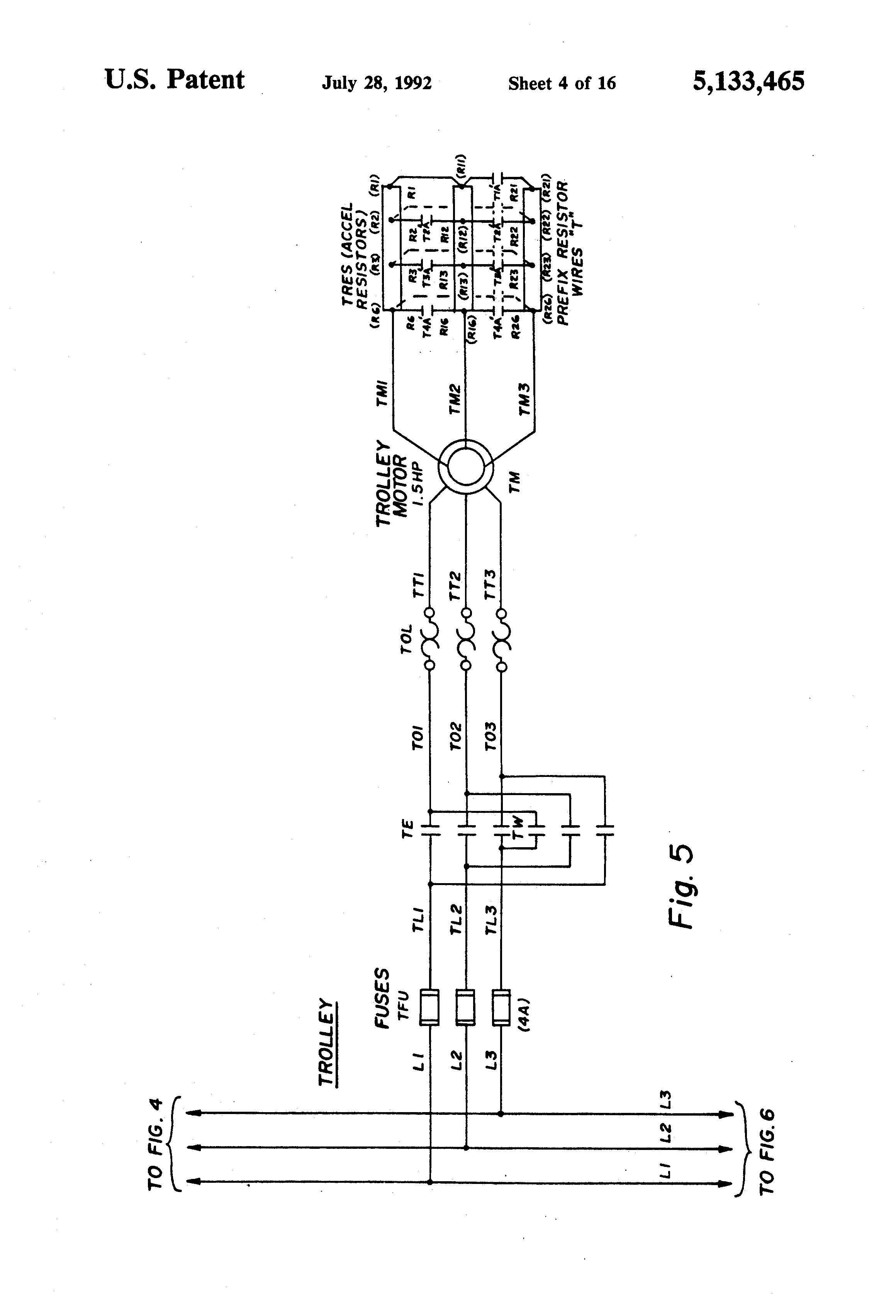patent us5133465 bridge crane electric motor control system patent drawing