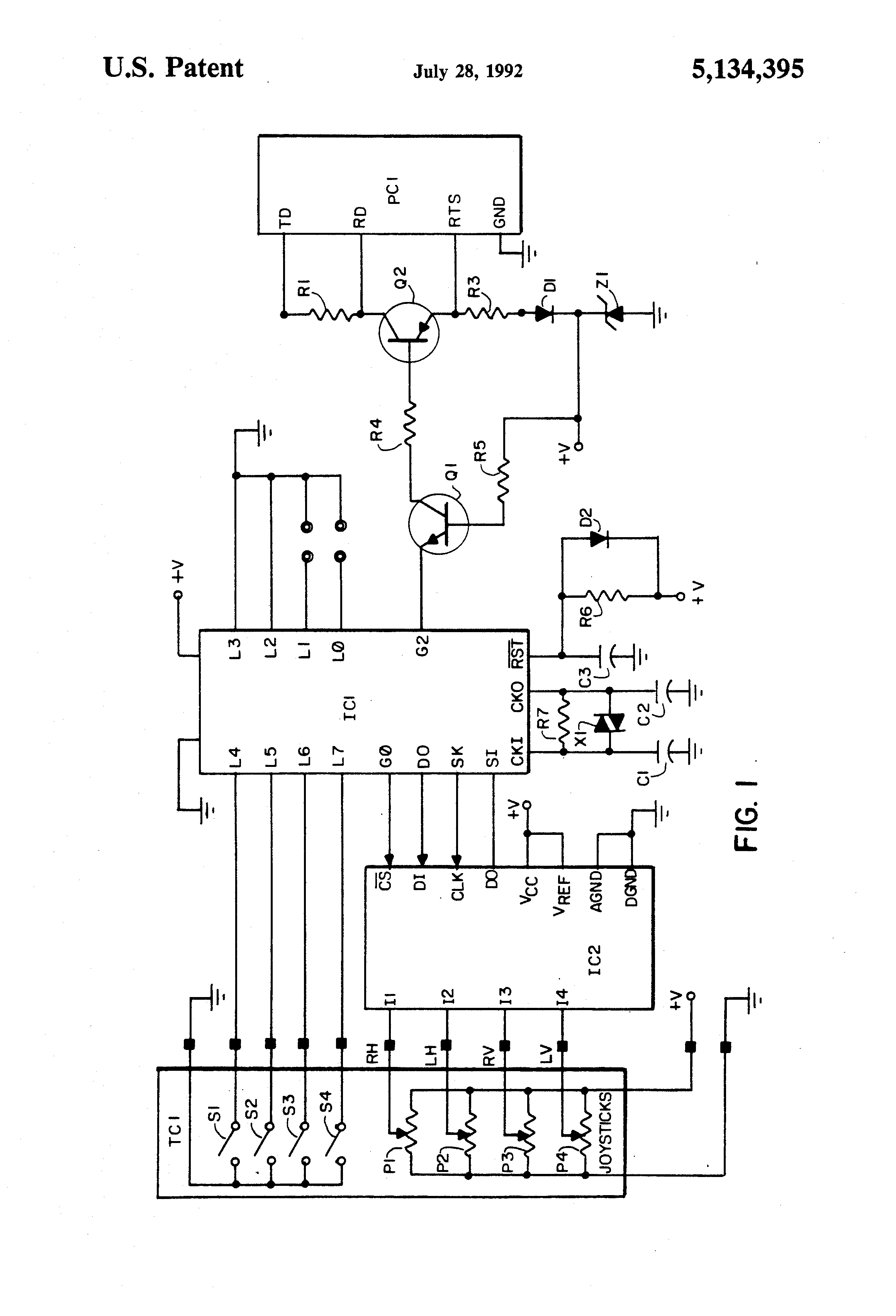 patent us5134395 - joystick  switch interface to computer serial port