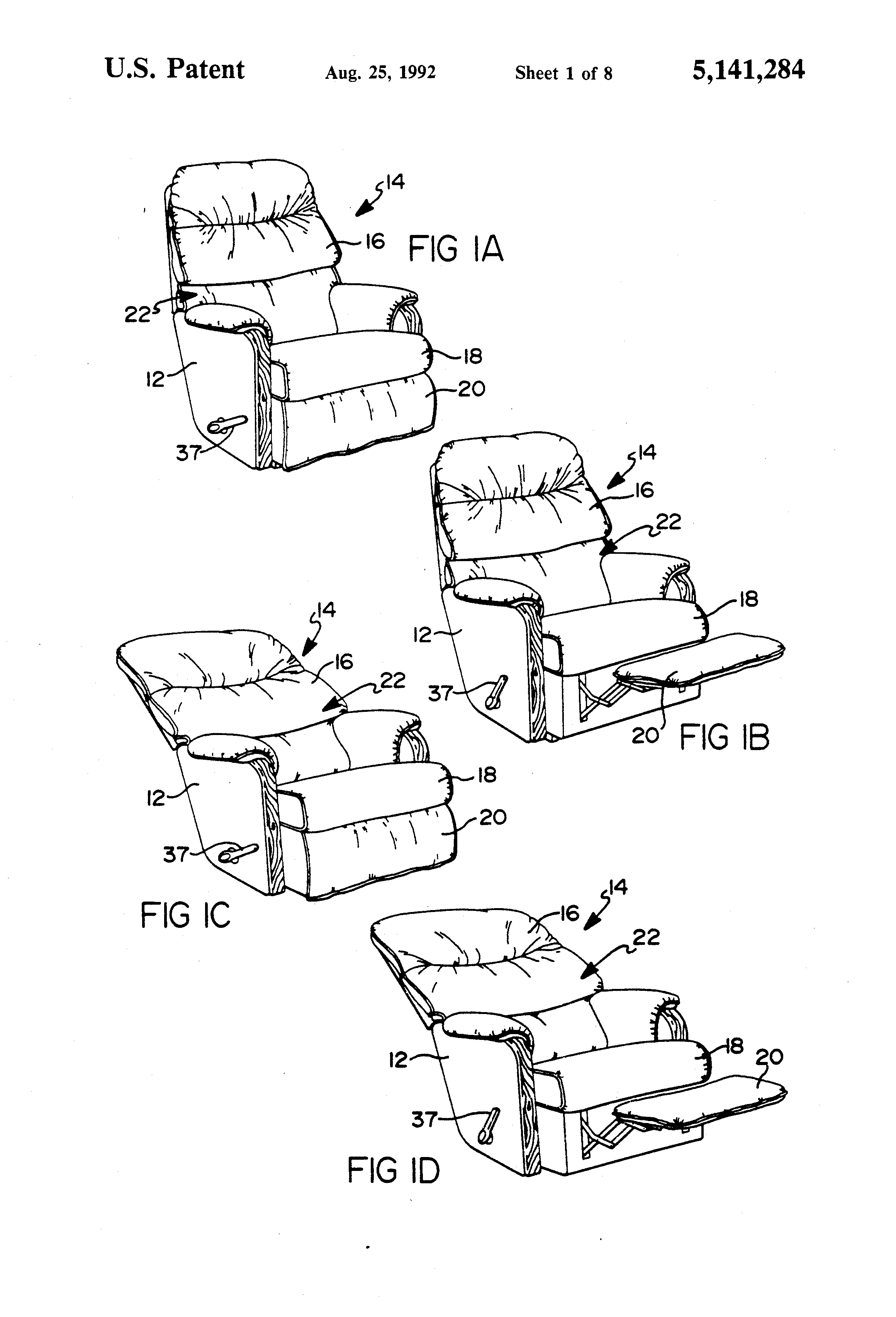 Patent Drawing  sc 1 st  Google & Patent US5141284 - Wall proximity reclining chair mechanism ... islam-shia.org