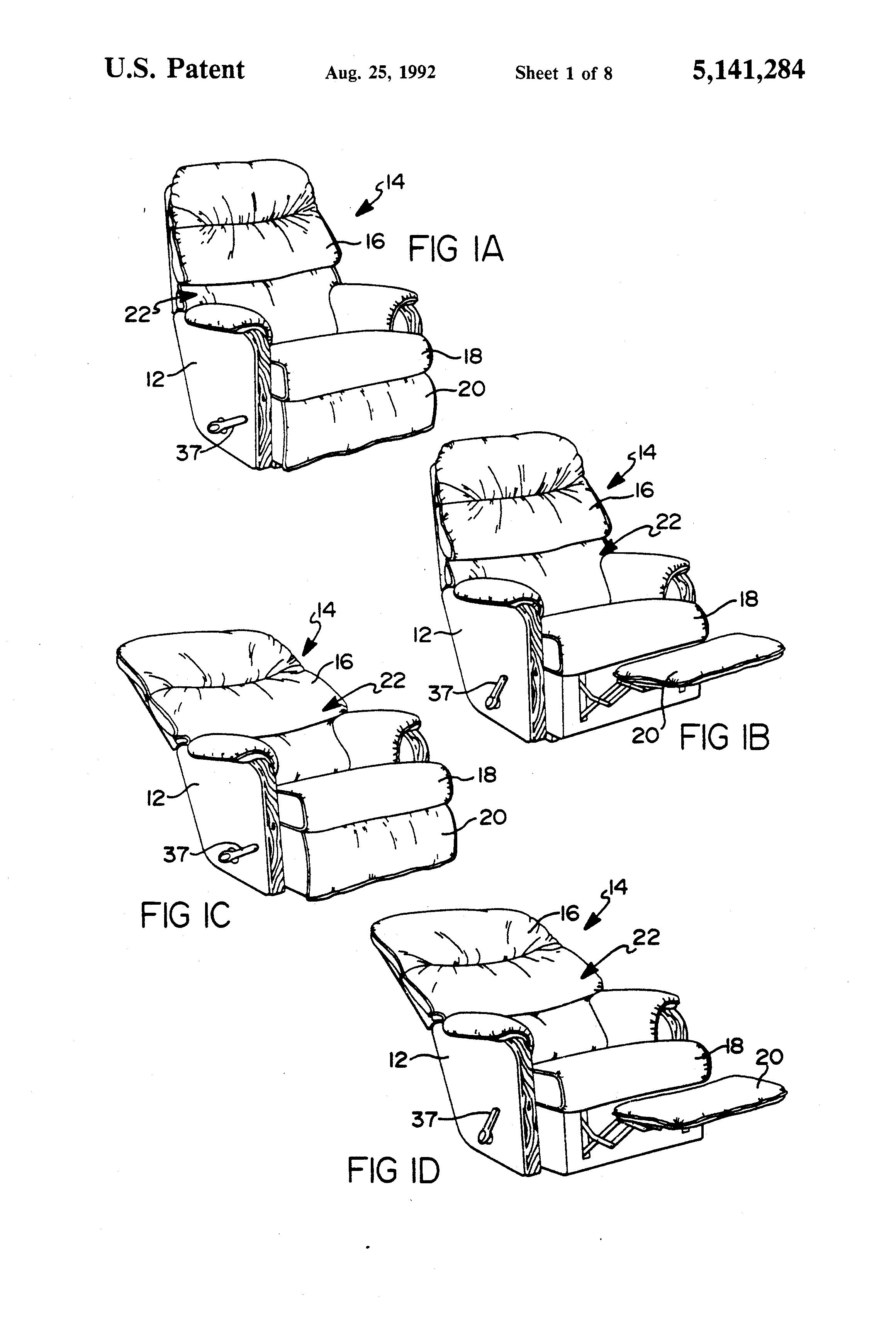Patent Drawing  sc 1 st  Google & Patent US5141284 - Wall proximity reclining chair mechanism ... islam-shia.org