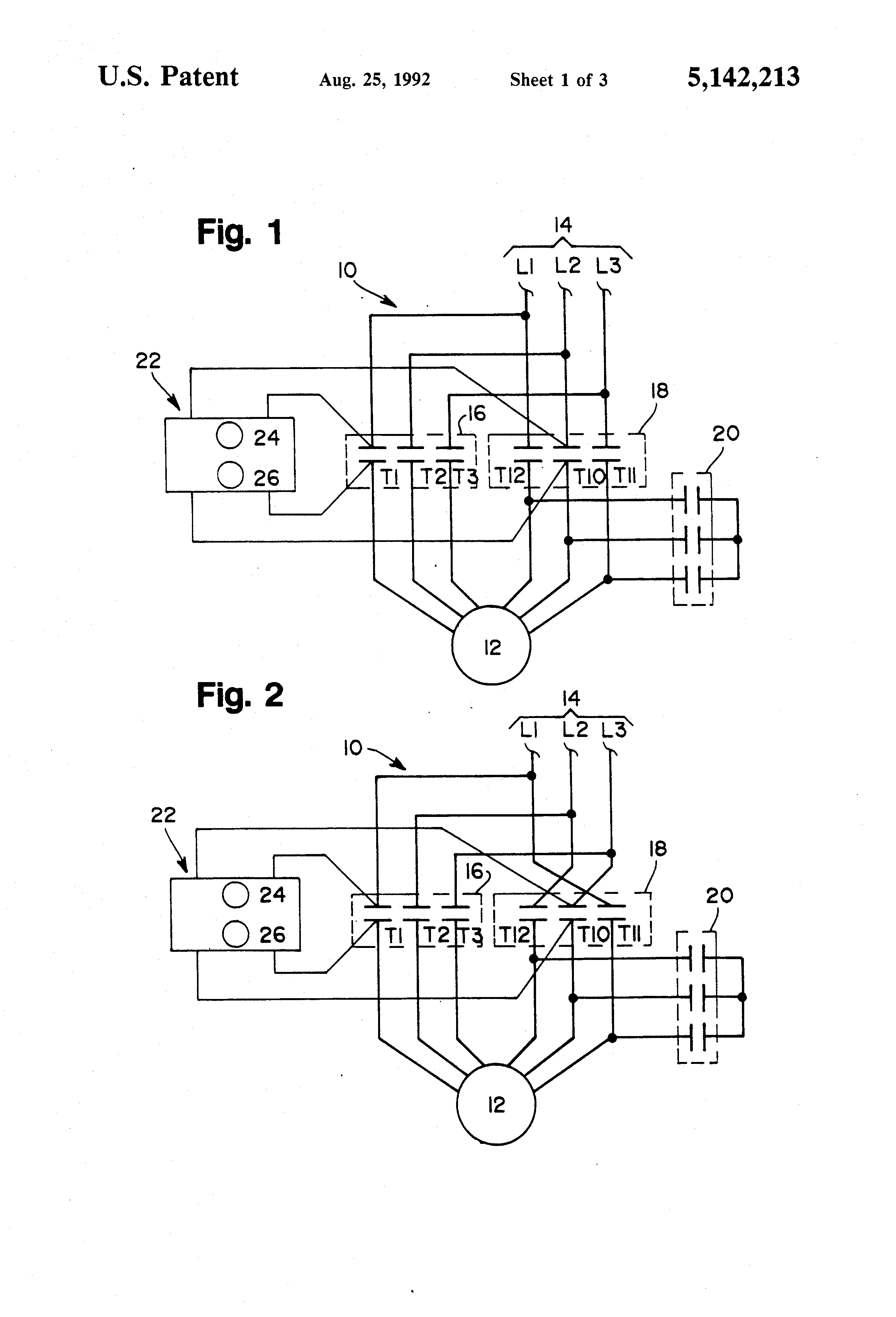 US5142213 1 patent us5142213 wye delta open transition motor starter with wye delta motor wiring diagram at fashall.co