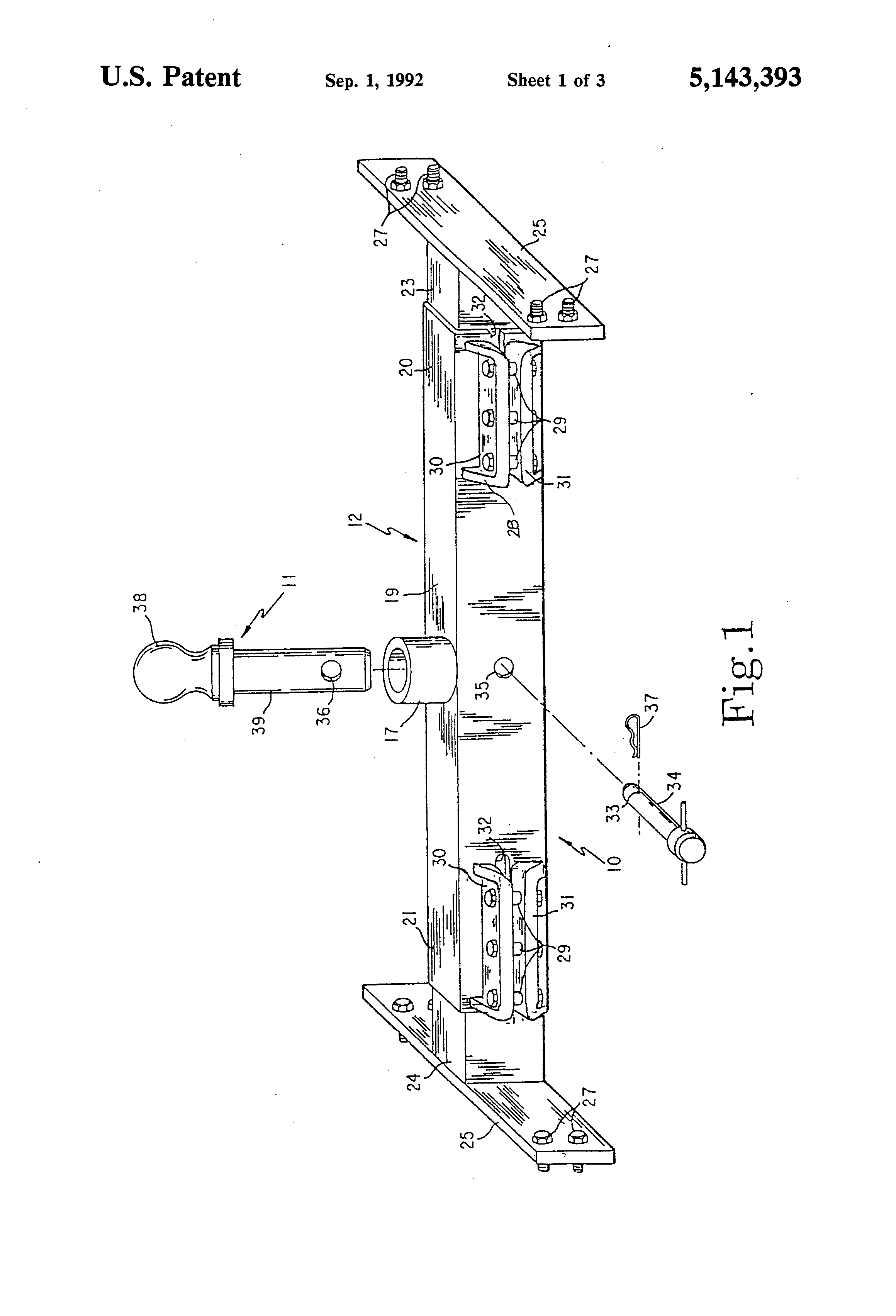 patent us5143393 - gooseneck trailer mounting ball installation for pick-up truck