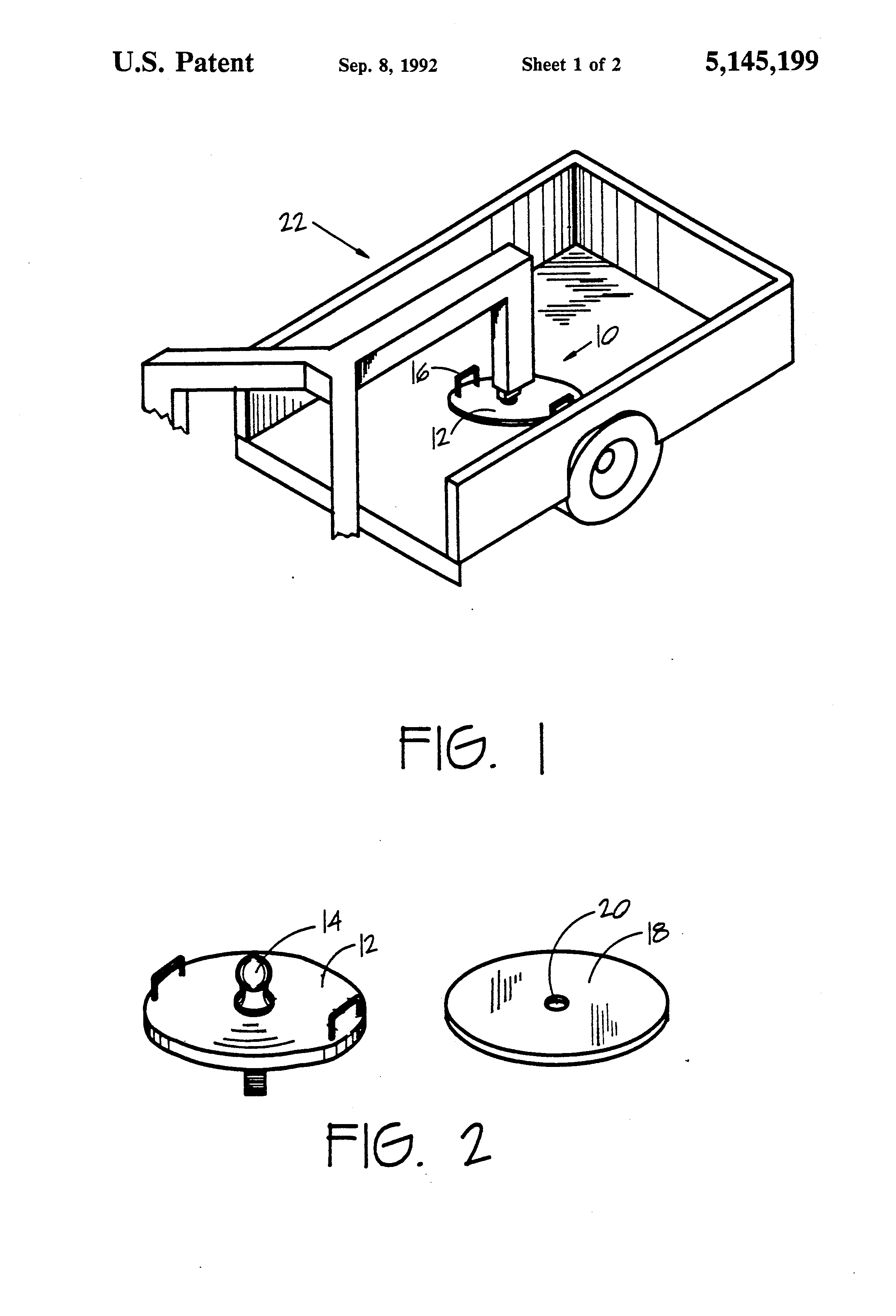 Patent Us5145199 Clear Bed Gooseneck Trailer Hitch Google Patents Coupler Diagram Drawing