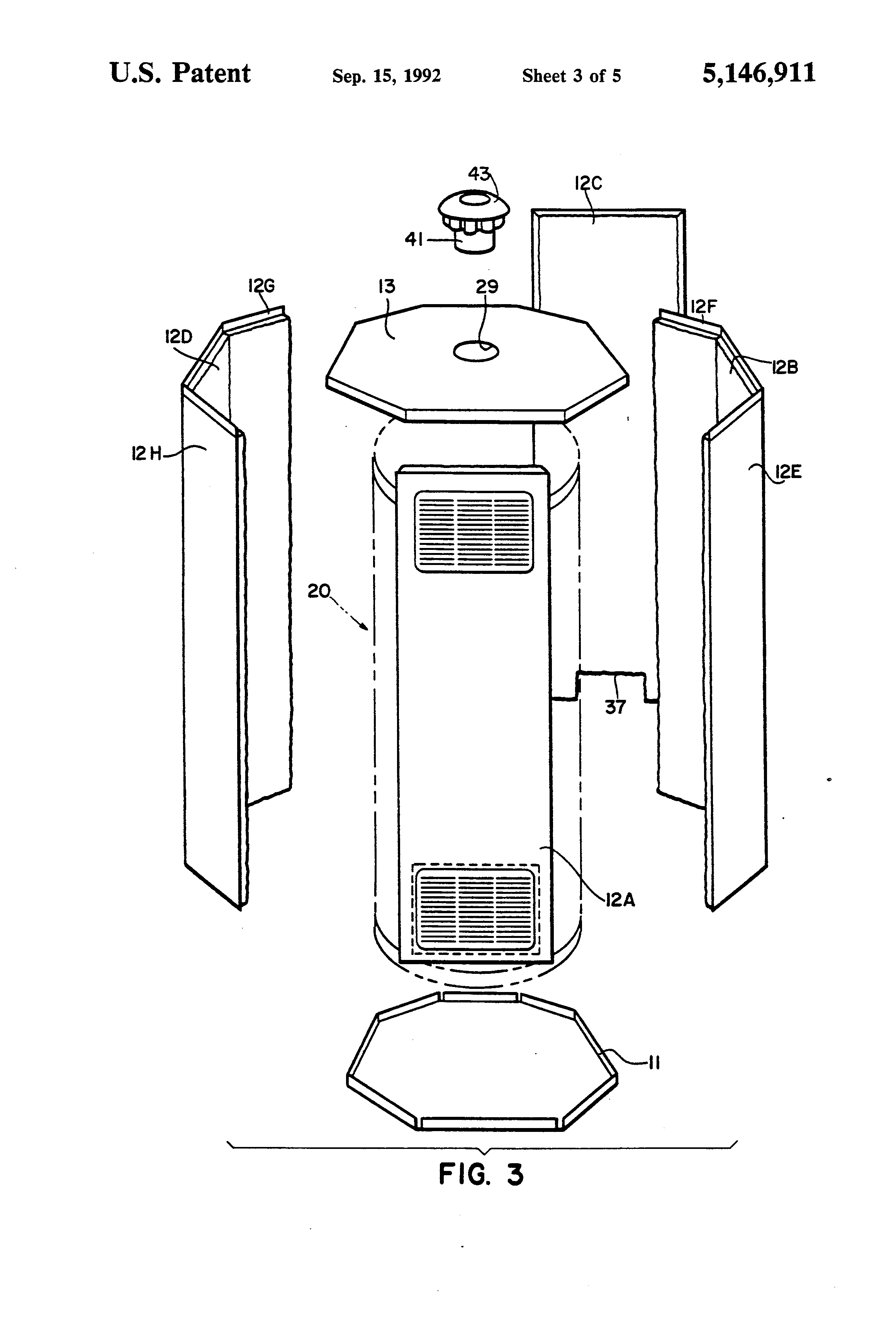Patent Us5146911 Exterior Enclosure For Gas Fired Water Heater Google Patents