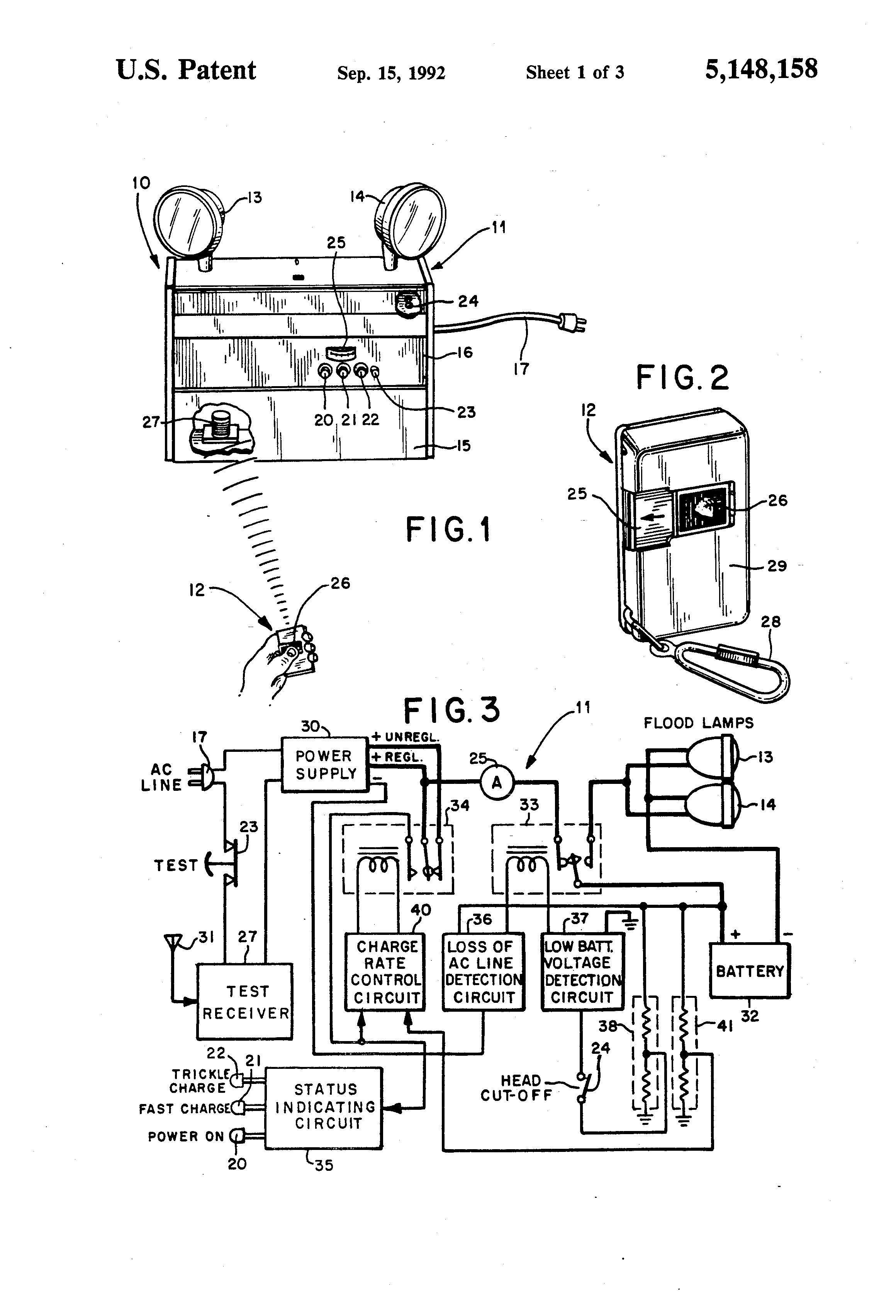 US5148158 1 patent us5148158 emergency lighting unit having remote test emergency exit light wiring diagram at fashall.co