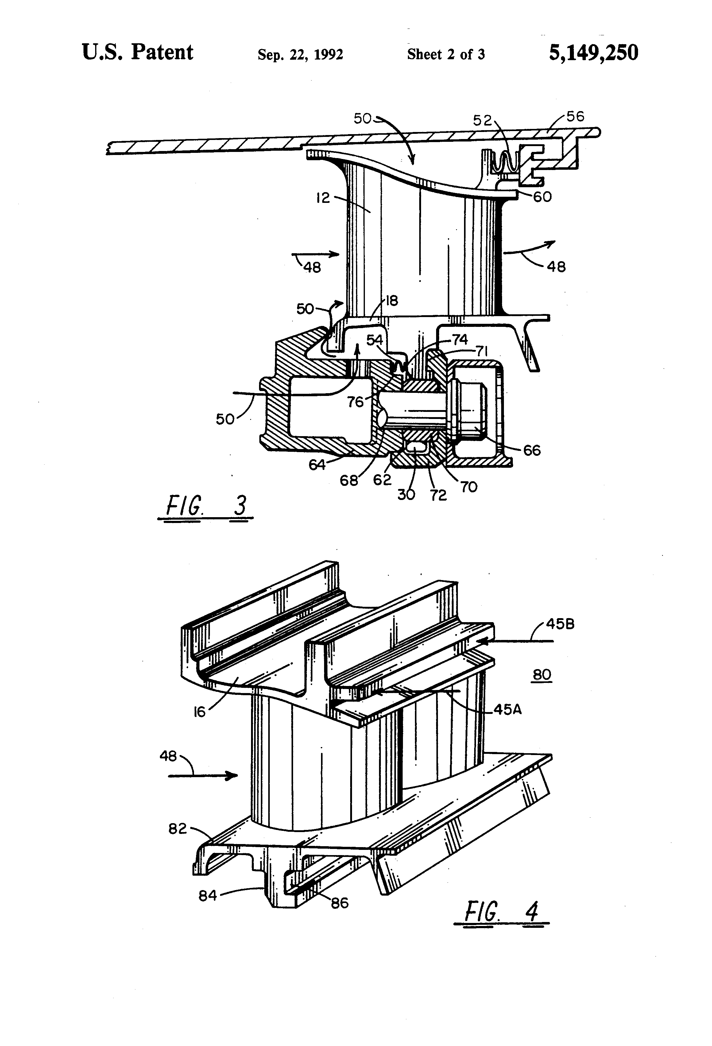 patent us5149250 - gas turbine vane assembly seal and support system