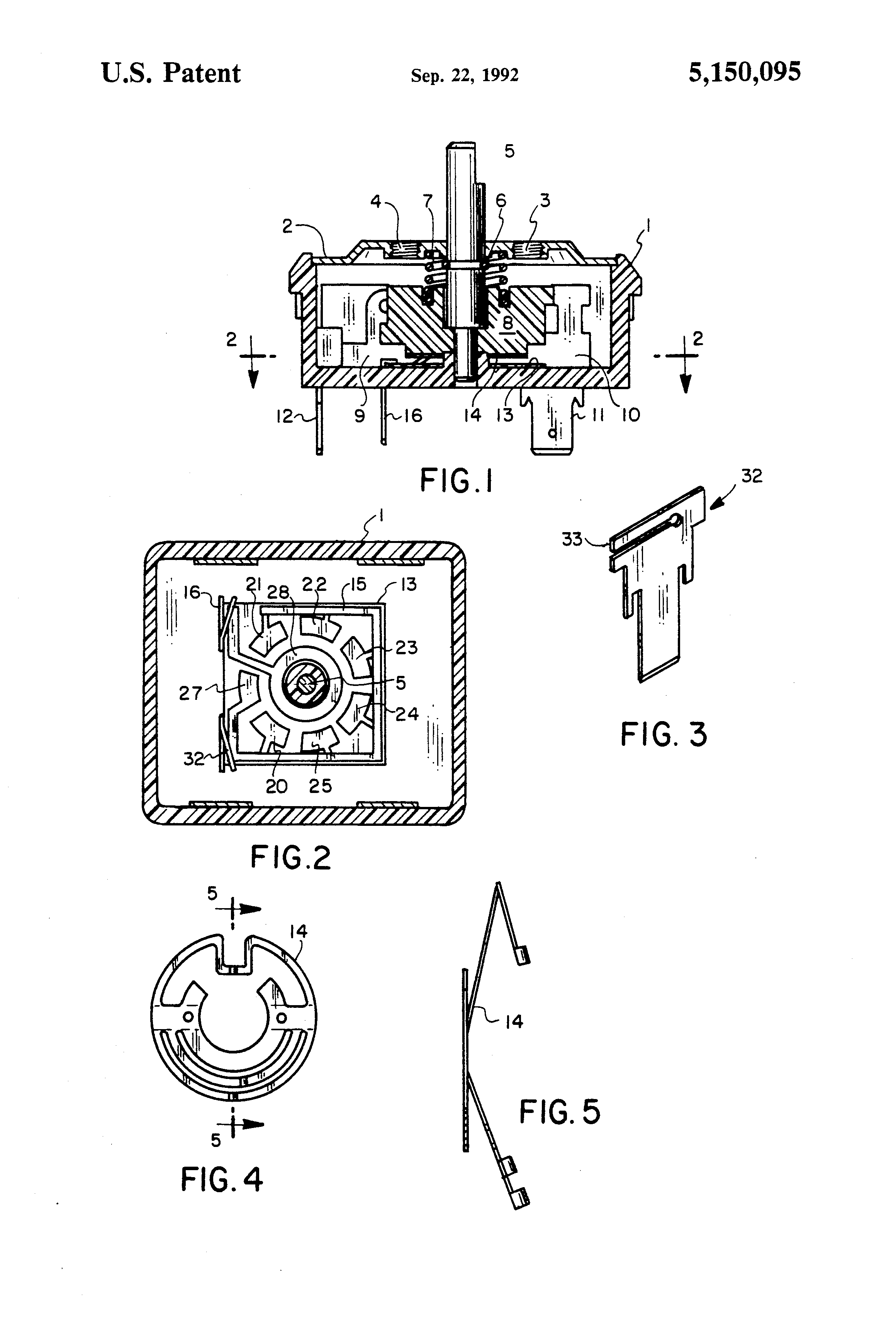 patent us5150095 - multi-position rotary switch with position sensor