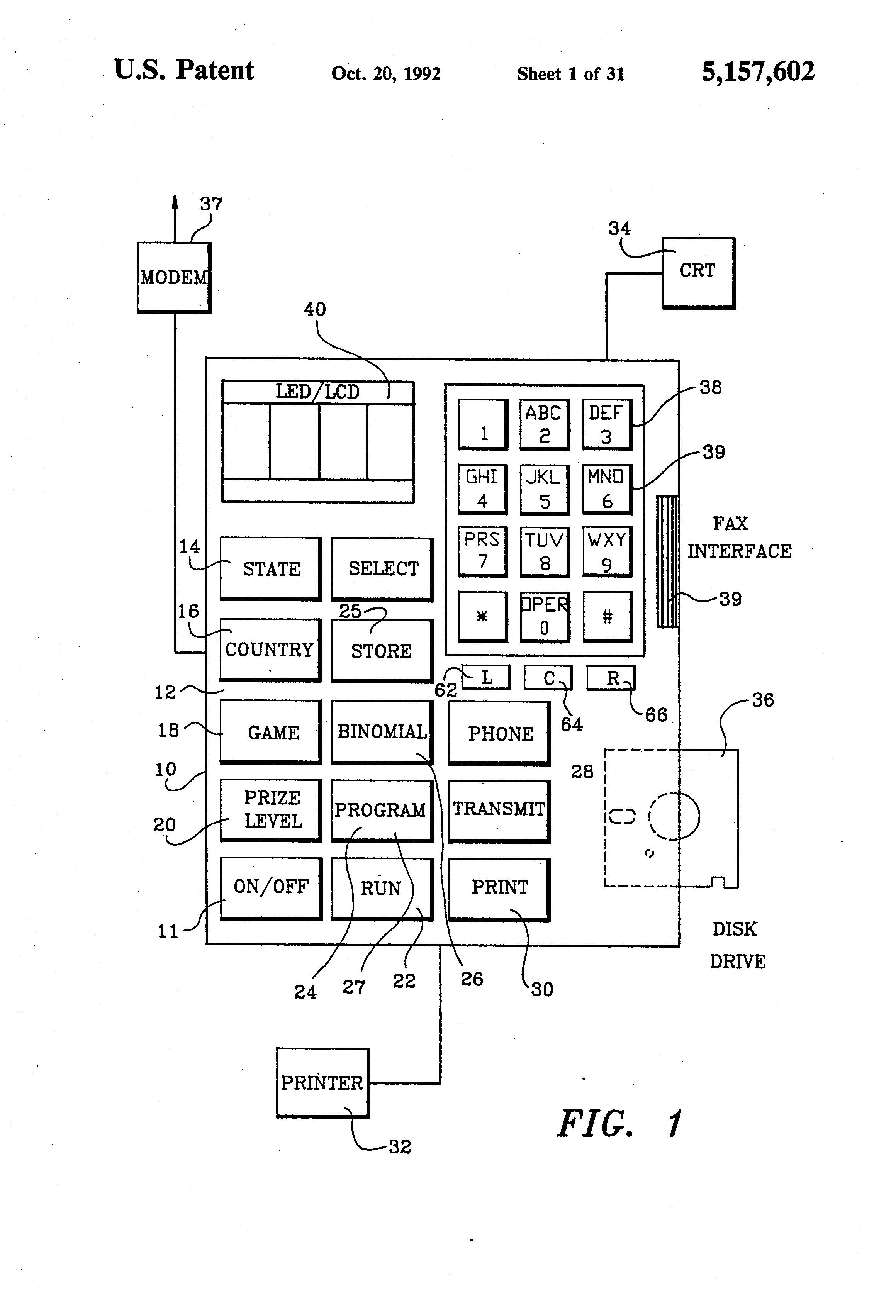 patent us5157602 apparatus and method for generating number sets