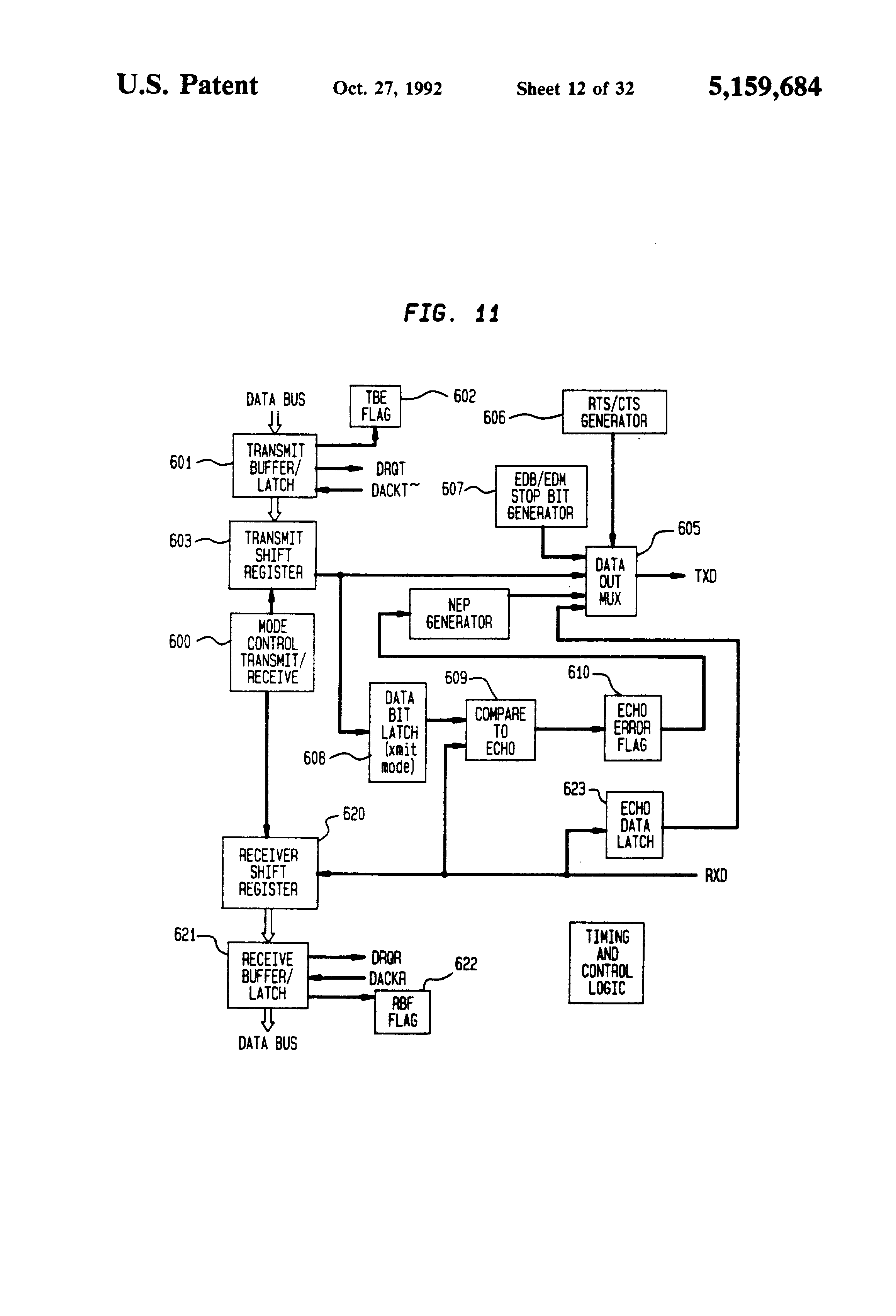 Patent Us5159684 Data Communication Interface Integrated Circuit Digital Multimeter Schematic Free Electronic Circuits 8085 Drawing