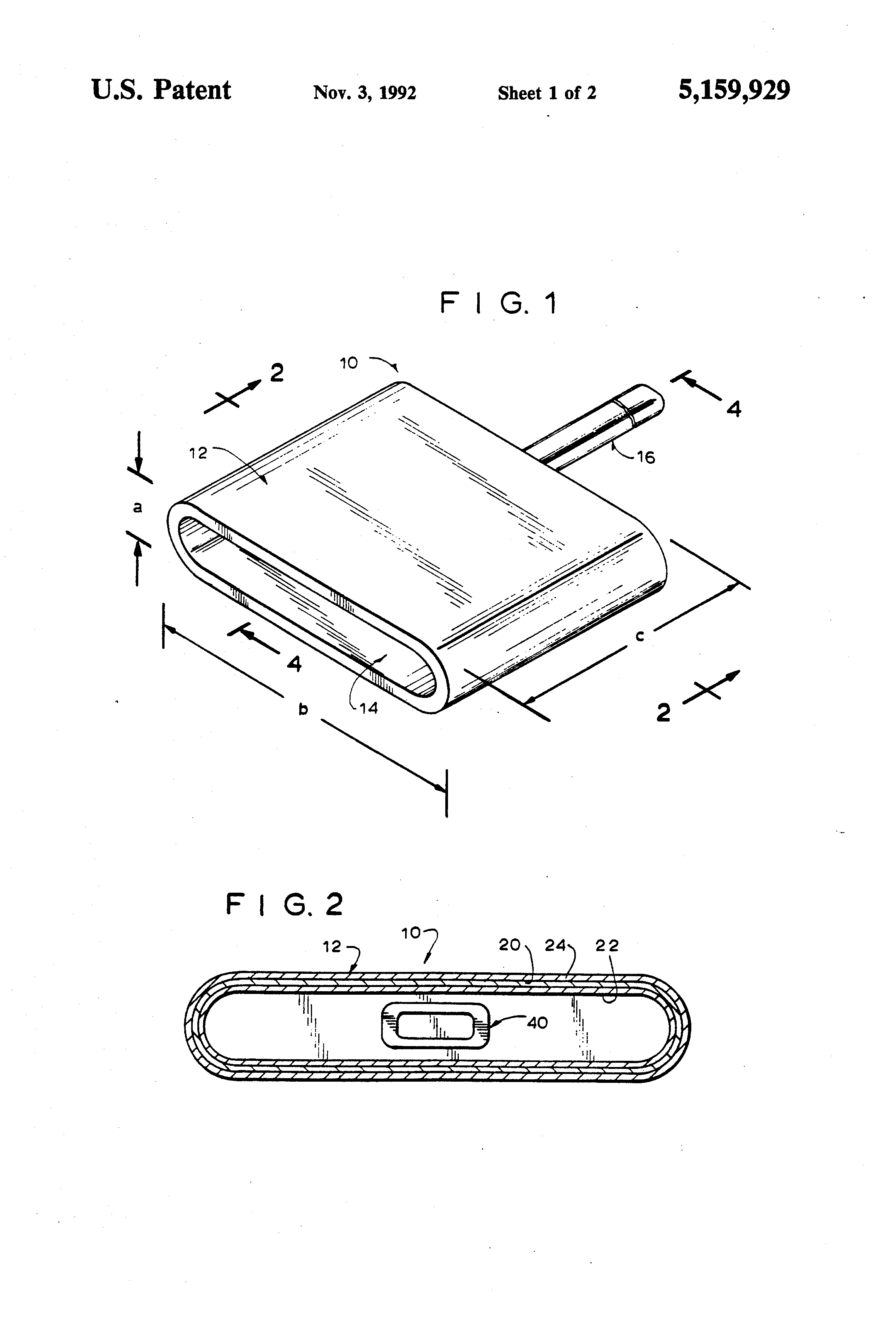 Patente Us5159929 Insulated Rf Shield Google Patentes Electrical Current Perdiameter Of Wire In Other Words Copper Patent Drawing