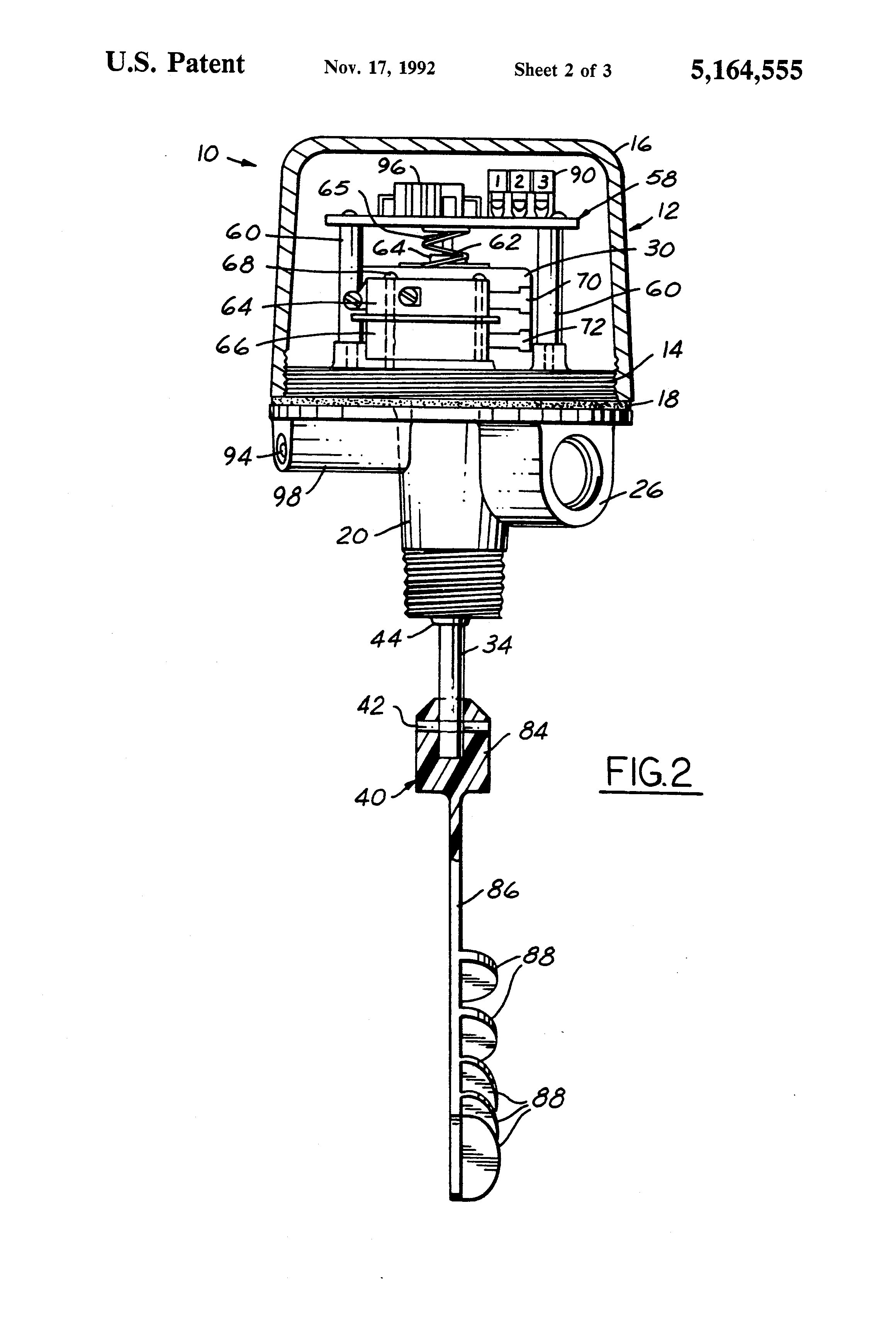 US5164555 2 patent us5164555 rotating paddle bin level indicator google bindicator wiring diagrams at bayanpartner.co