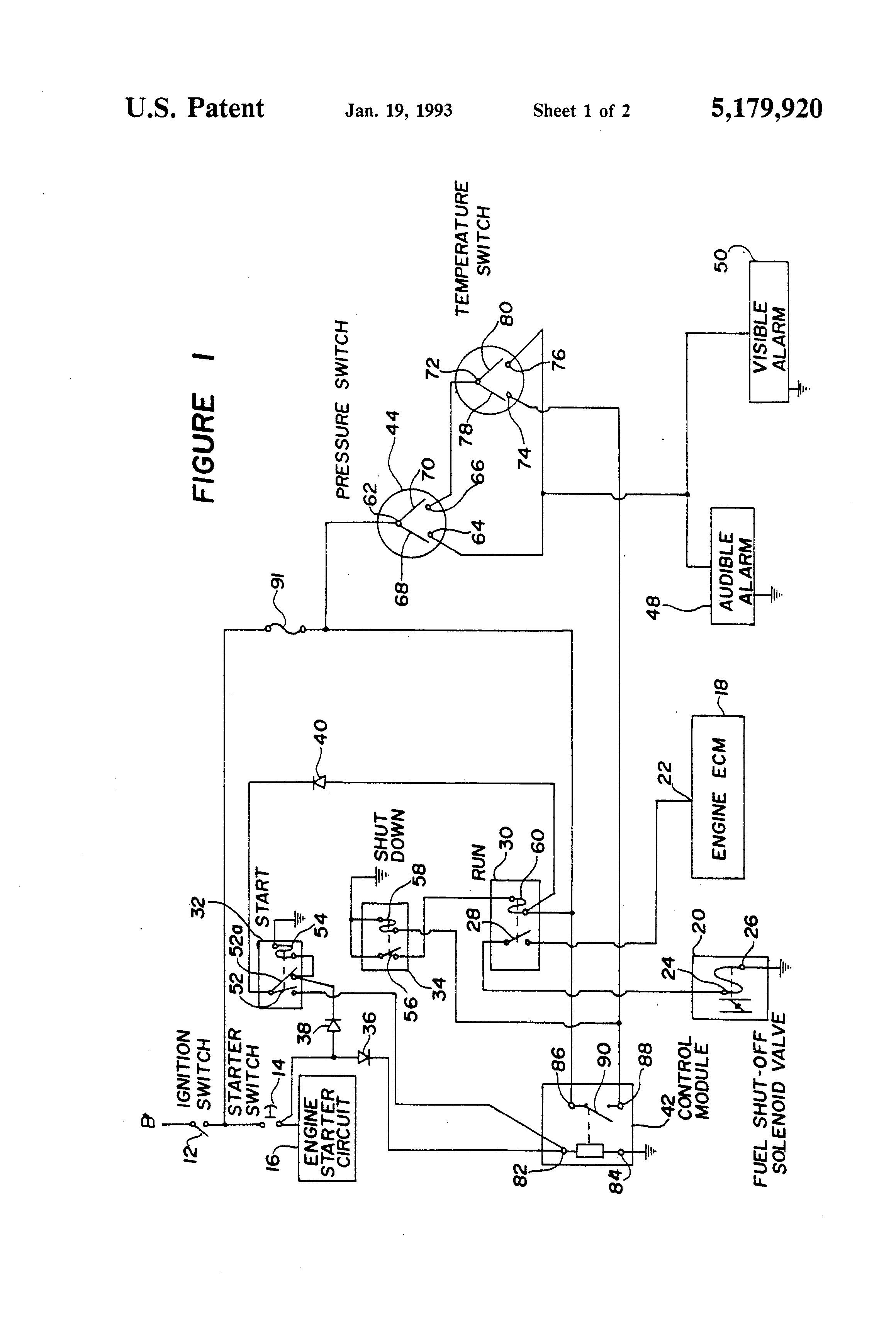 patent us5179920 circuit for automatic shut down of patent drawing