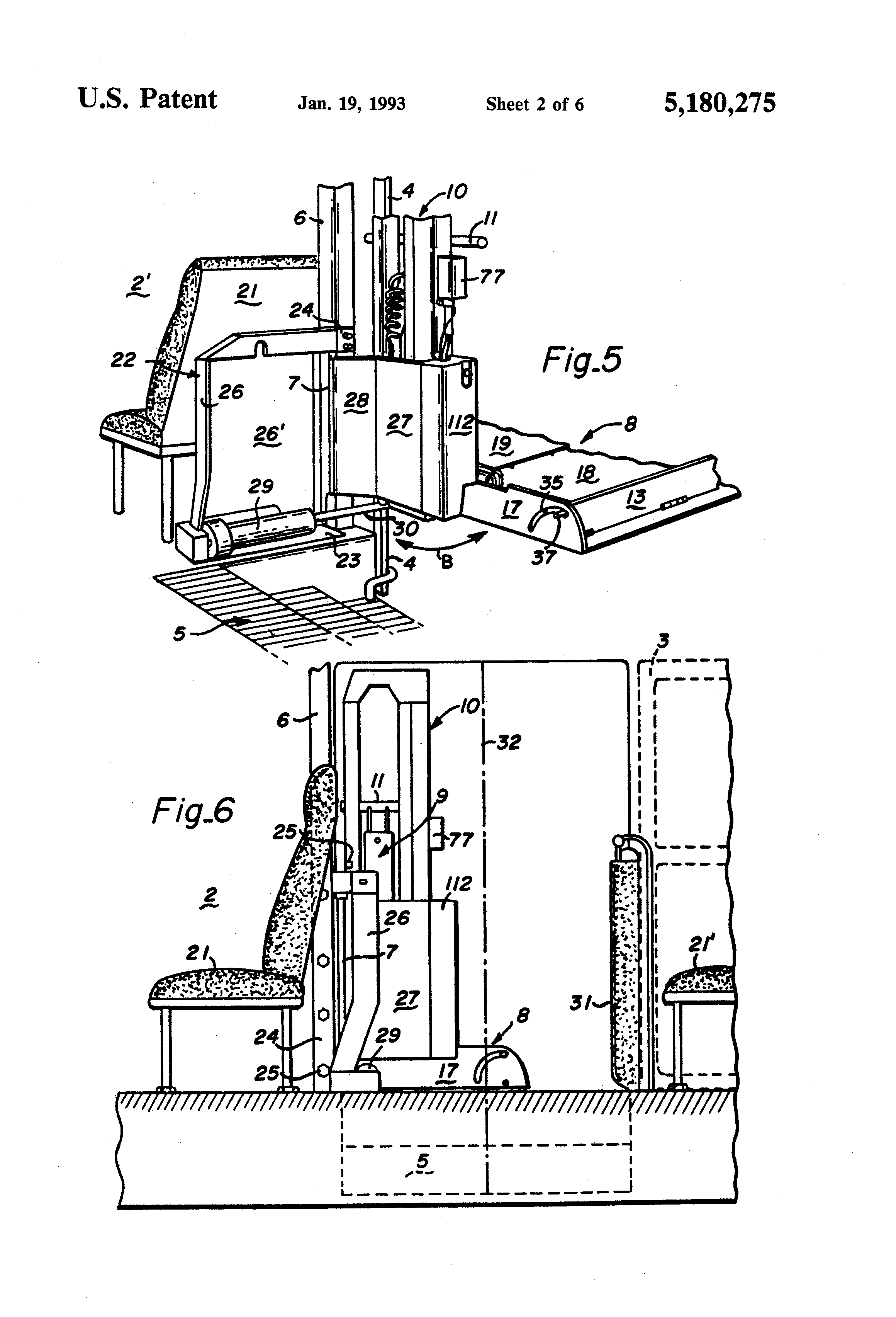 patent us rotary bus lift power stowable platform patent drawing