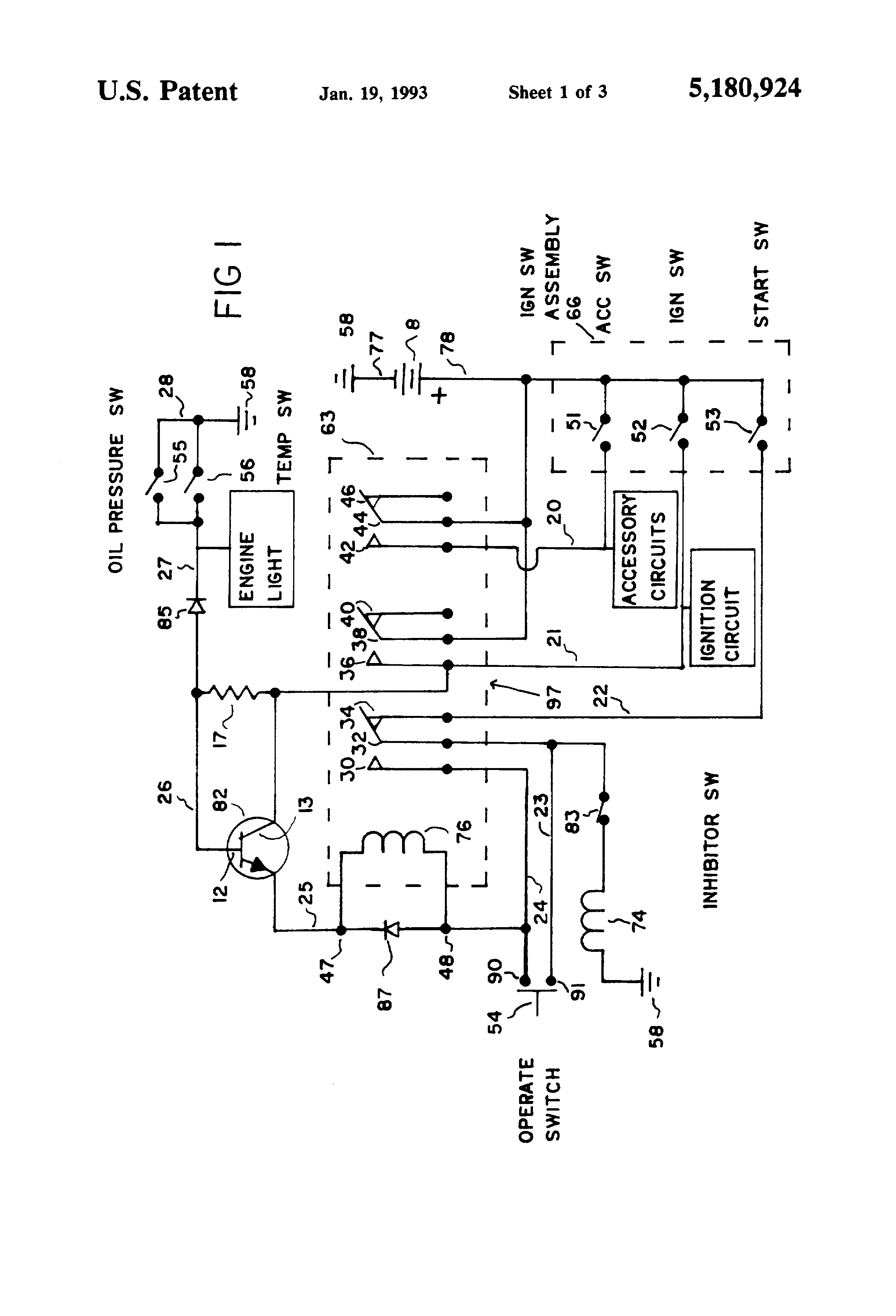 patent us5180924 - ignition switch bypass circuit