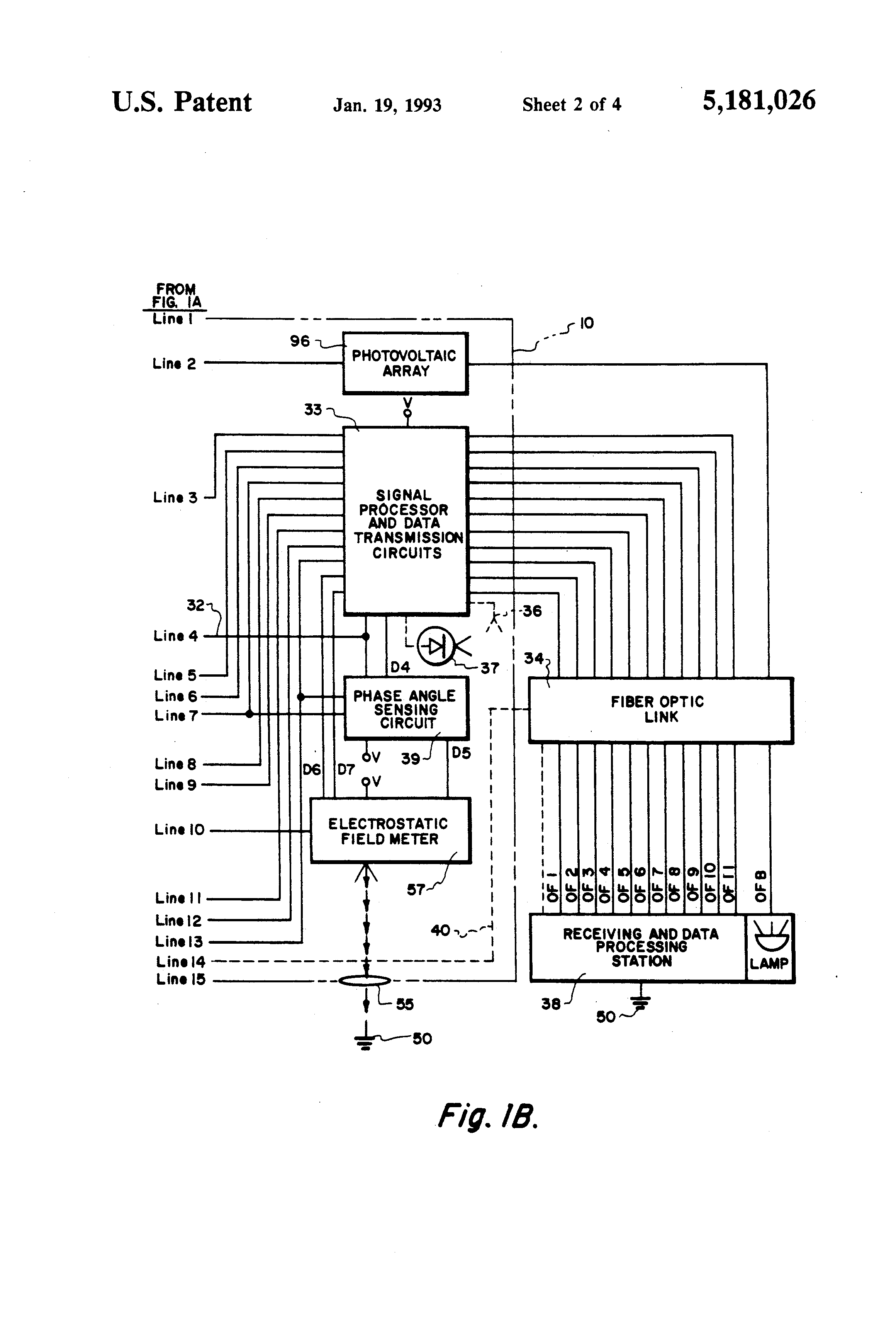 patent us5181026 - power transmission line monitoring system