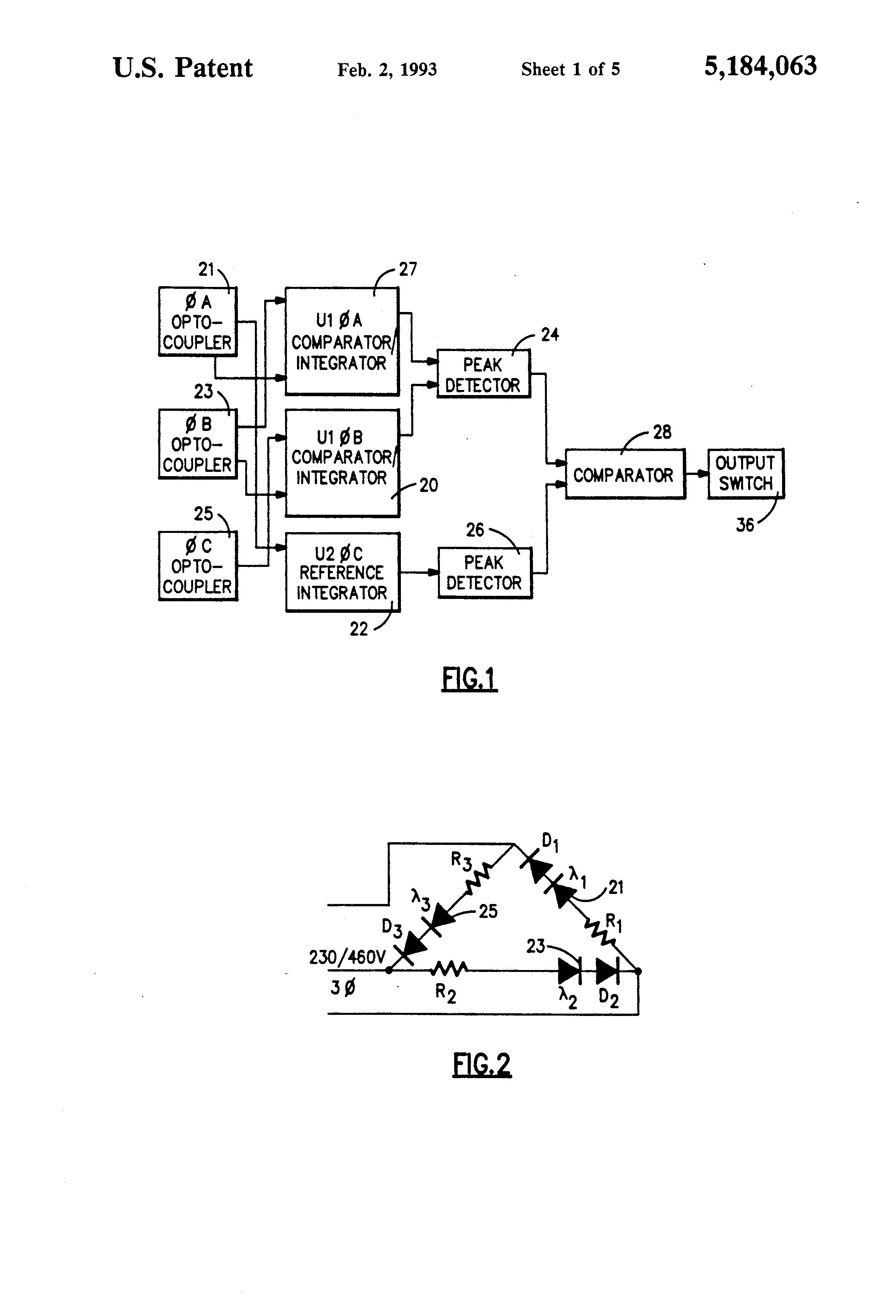 patent us5184063 - three phase reversal detection system