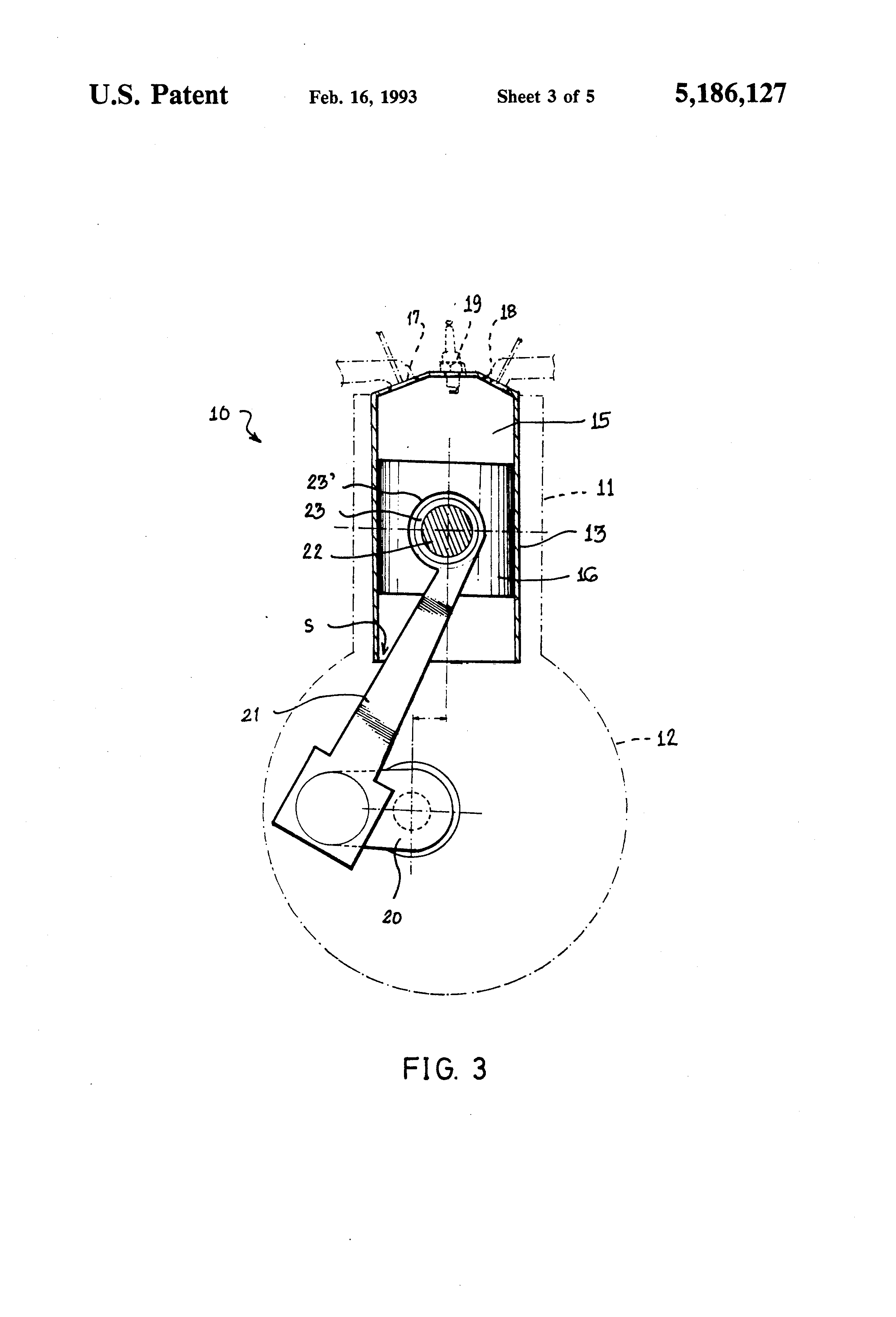Internal Combustion Engine Diagram Of The Ott Wiring Library Combustible Patent Us5186127 With Offset Connecting Drawing