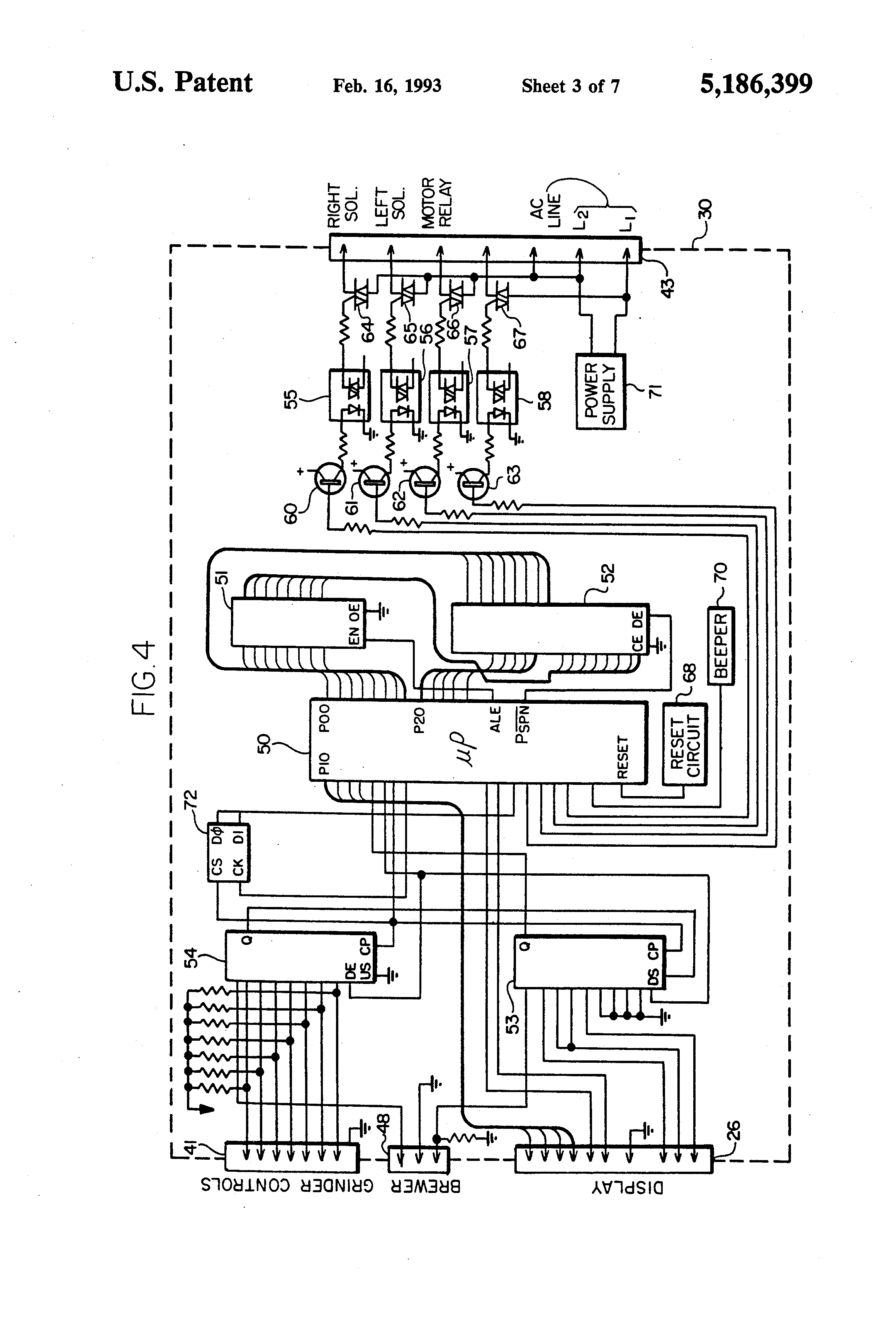 patent us5186399 digital system for a coffee grinder and associated coffee brewer