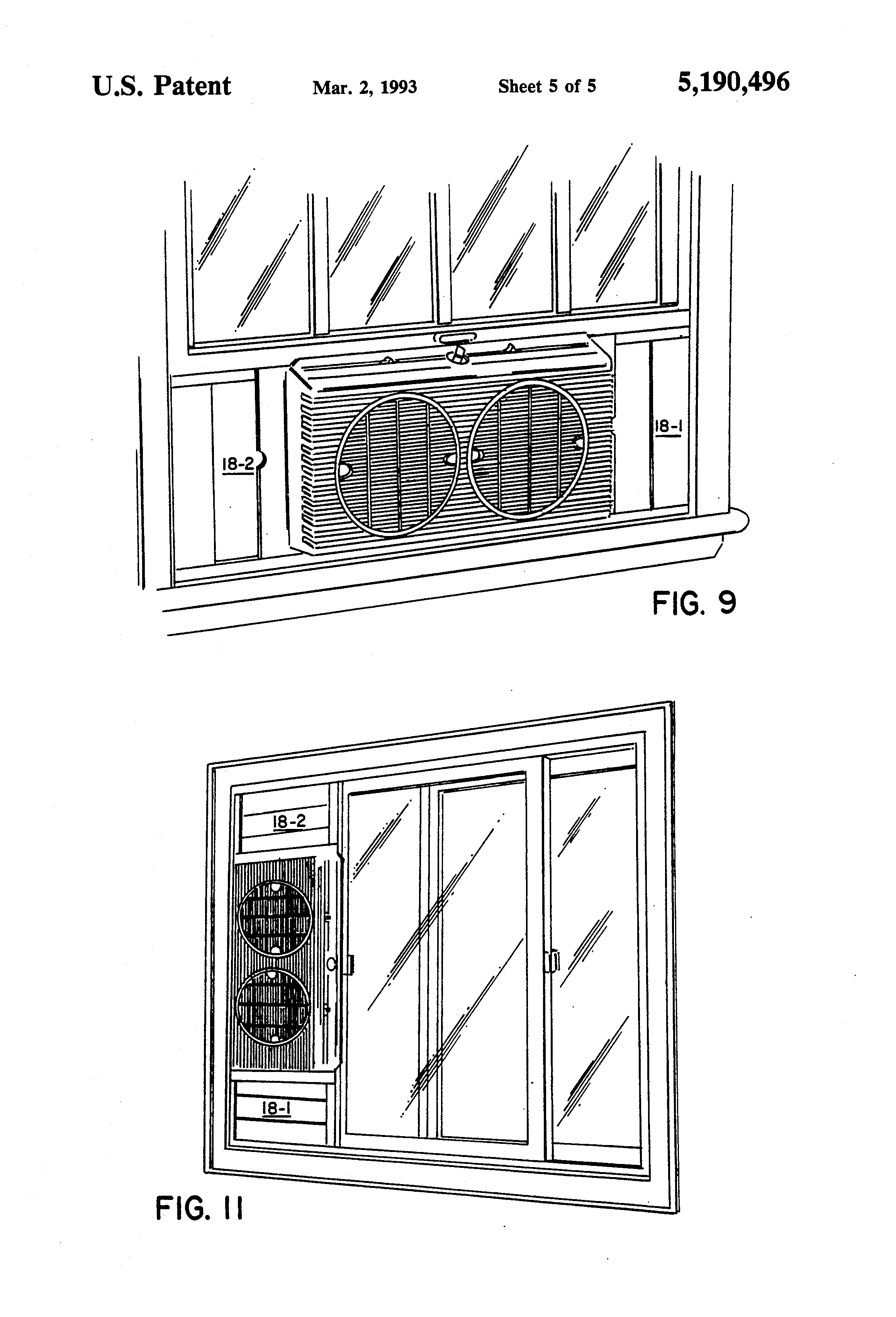 Patent US5190496 Window fan   Patents #3A3A3A