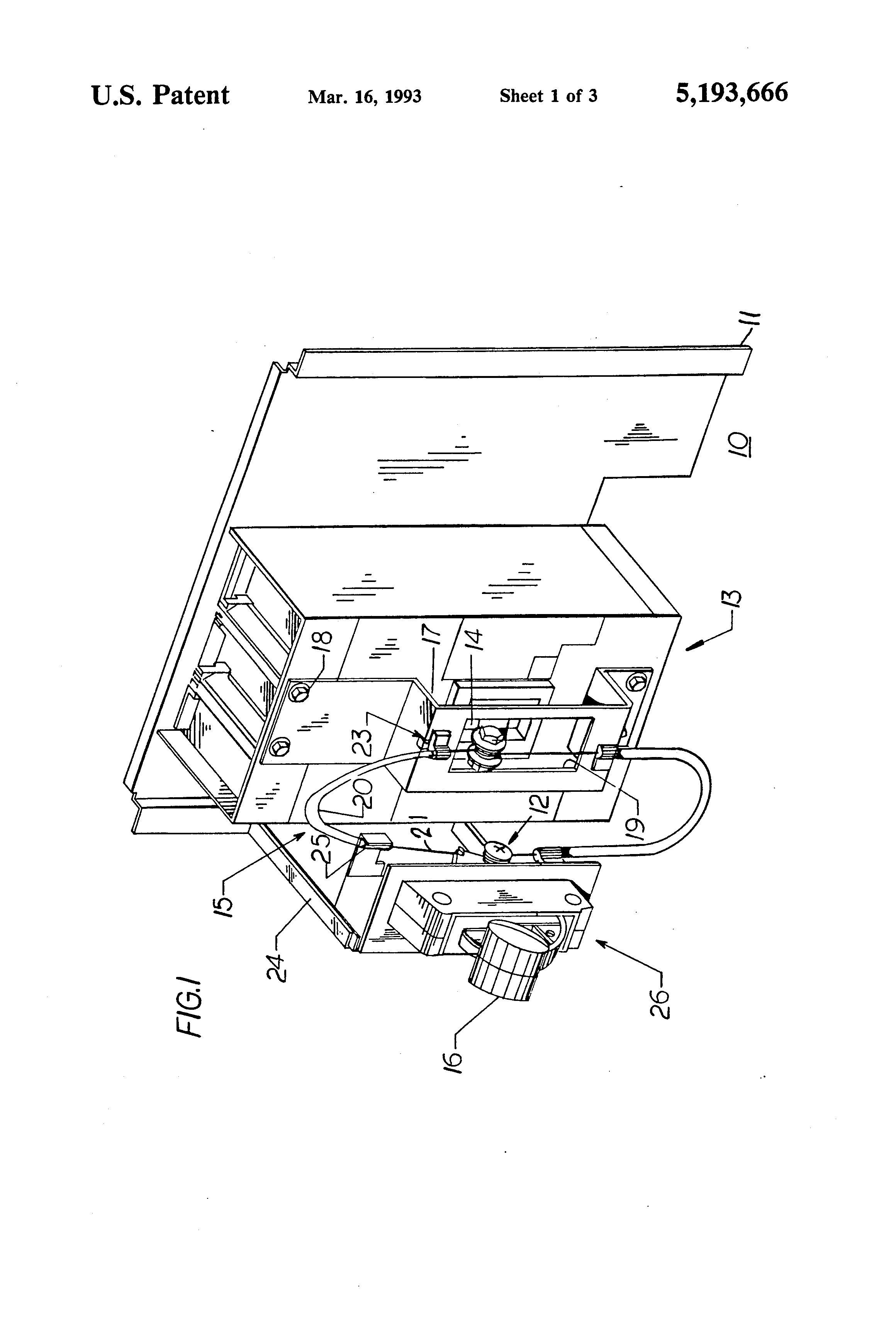 patent us5193666 - handle extender for molded case circuit breaker actuator mechanism