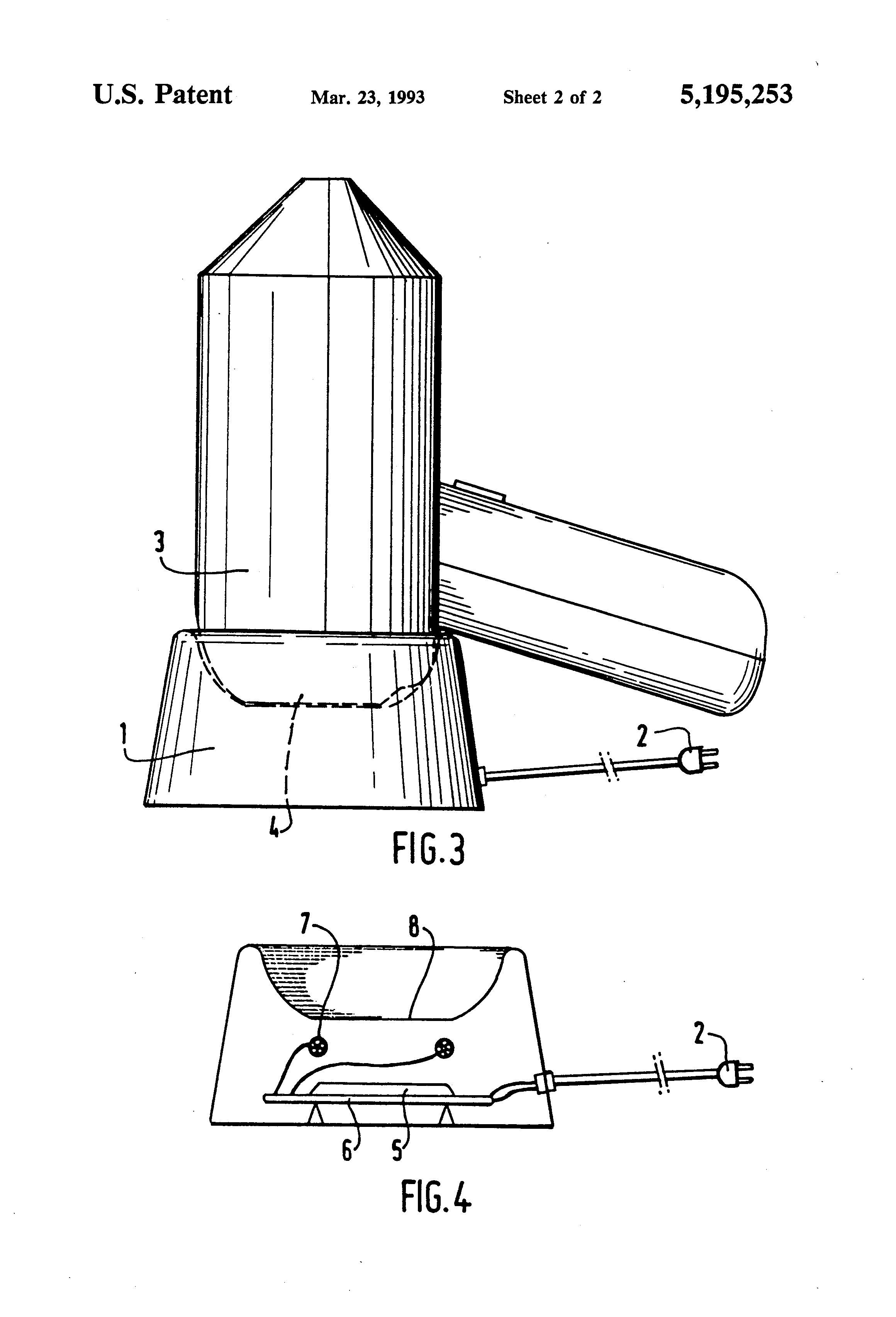 patent us5195253 - cordless electric hair-dryer