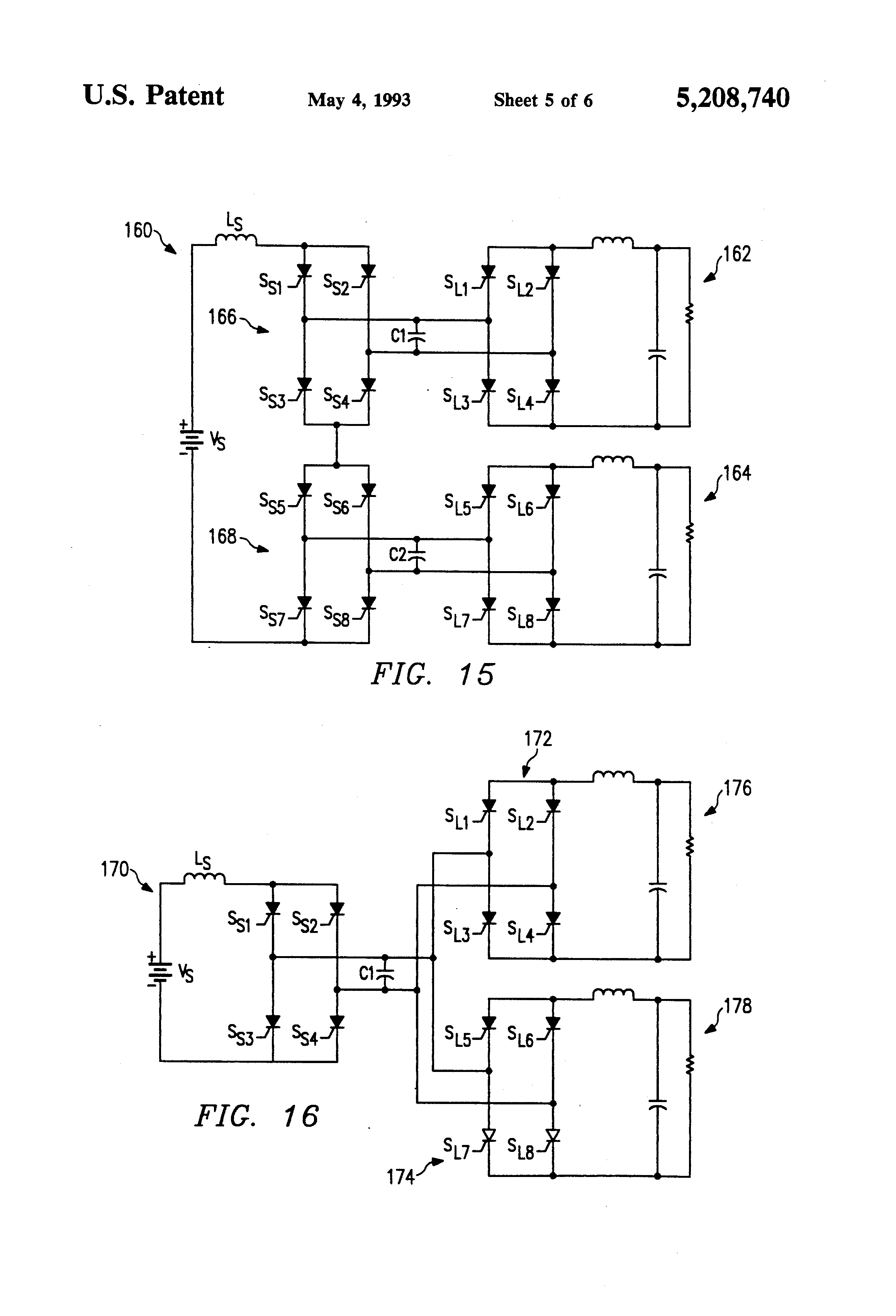 Patent Us5208740 Inverse Dual Converter For High Power Dc Series Motor Commutation Circuit Basiccircuit Diagram Drawing