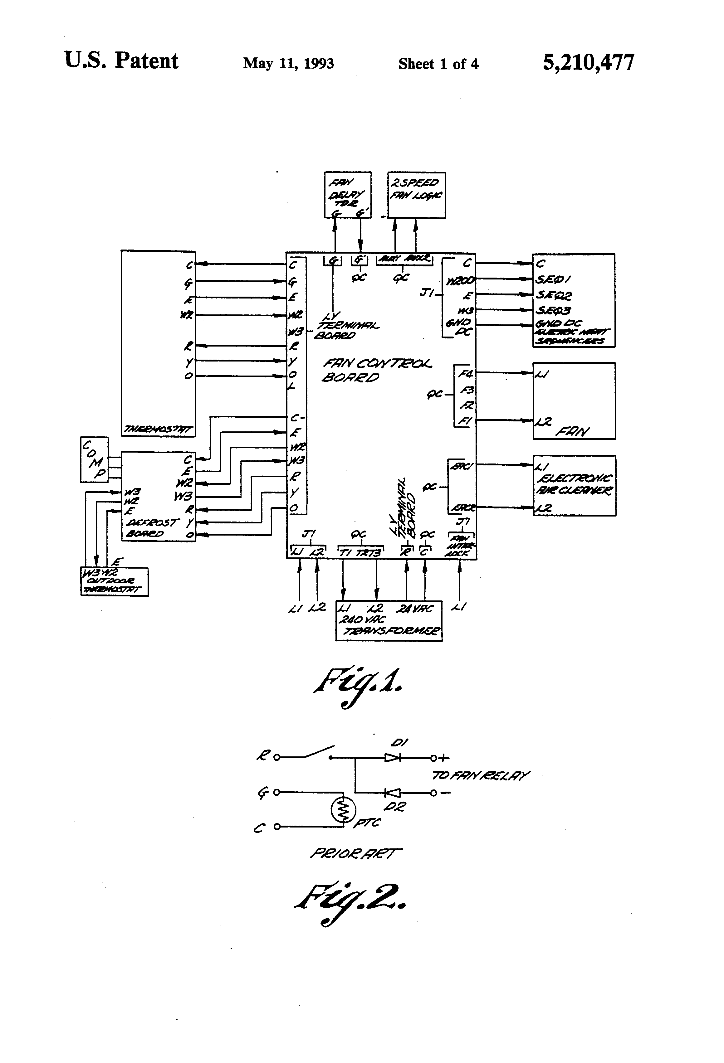Patent Us5210477 Fan Control And Diode Interlock For Electric Viii Wiring Diagram On Hayden Dual Drawing