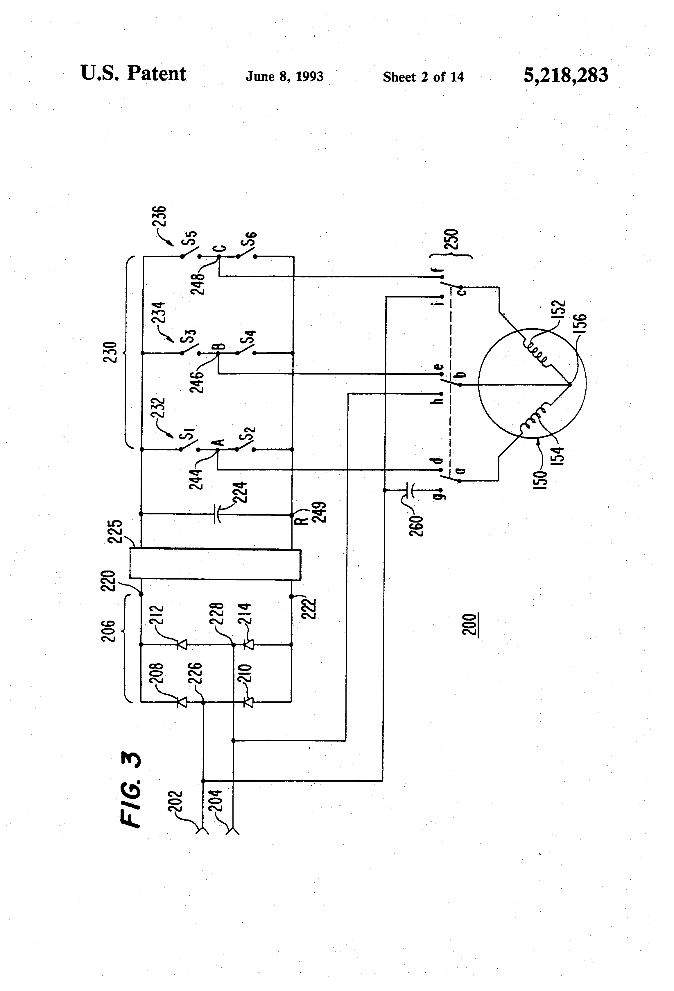patent us5218283 - ac motor drive system with a two phase power supply