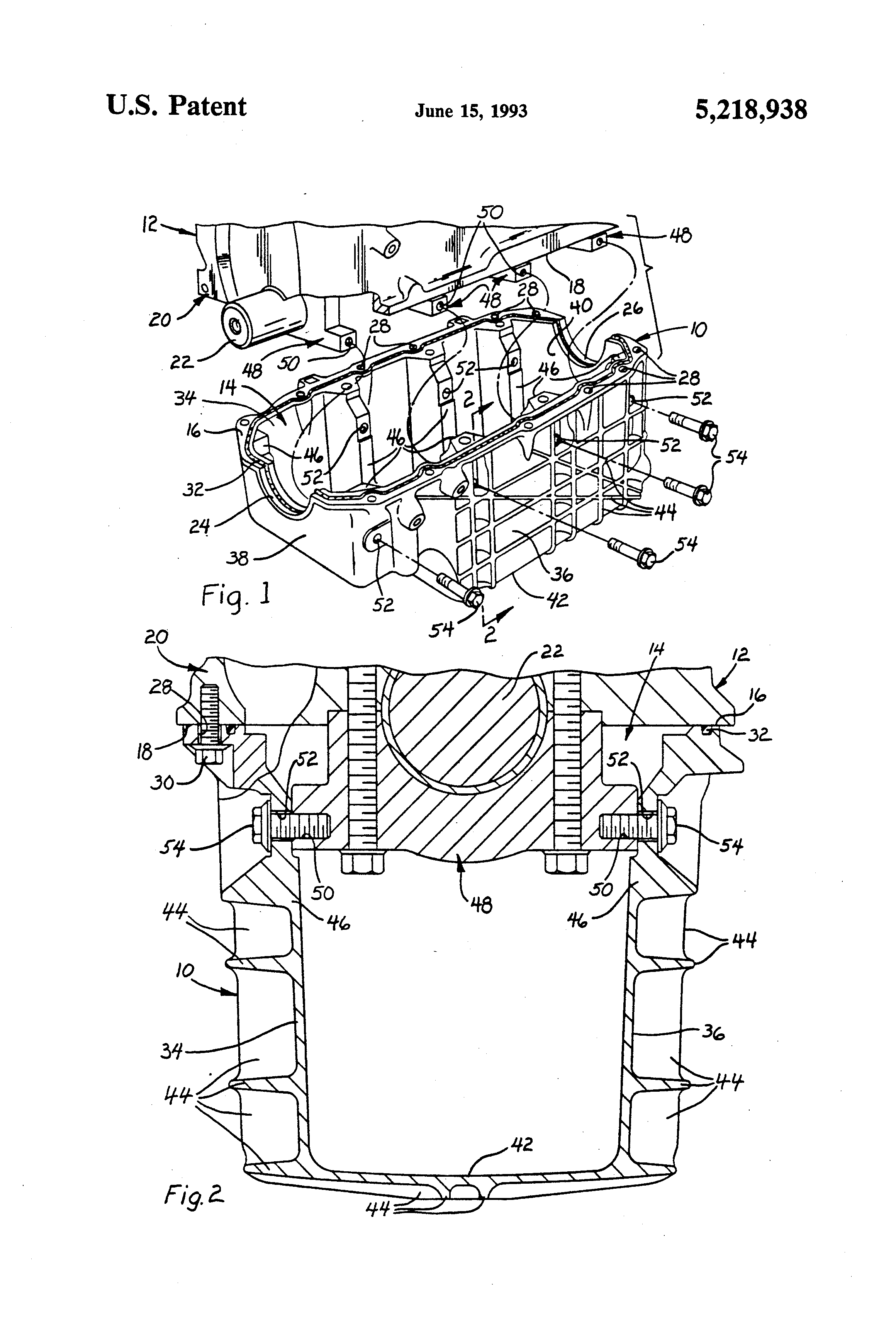 Patent Us5218938 Structural Oil Pan For Internal Combustion Engine Illustrated Diagram Of A Basic Drawing