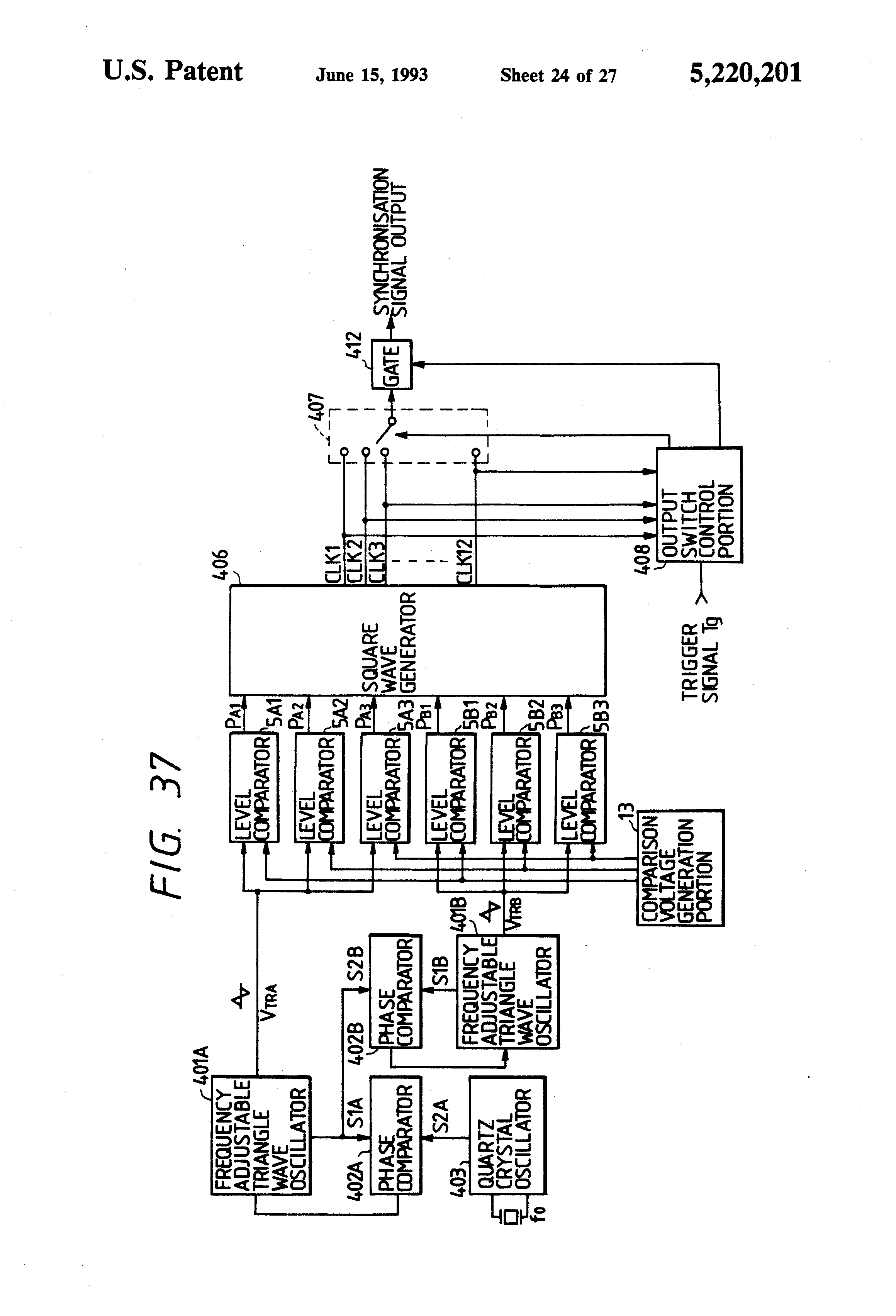 Patent Us5220201 Phase Locked Signal Generator Google Patents Triangle Circuit Schematic Diagram Drawing