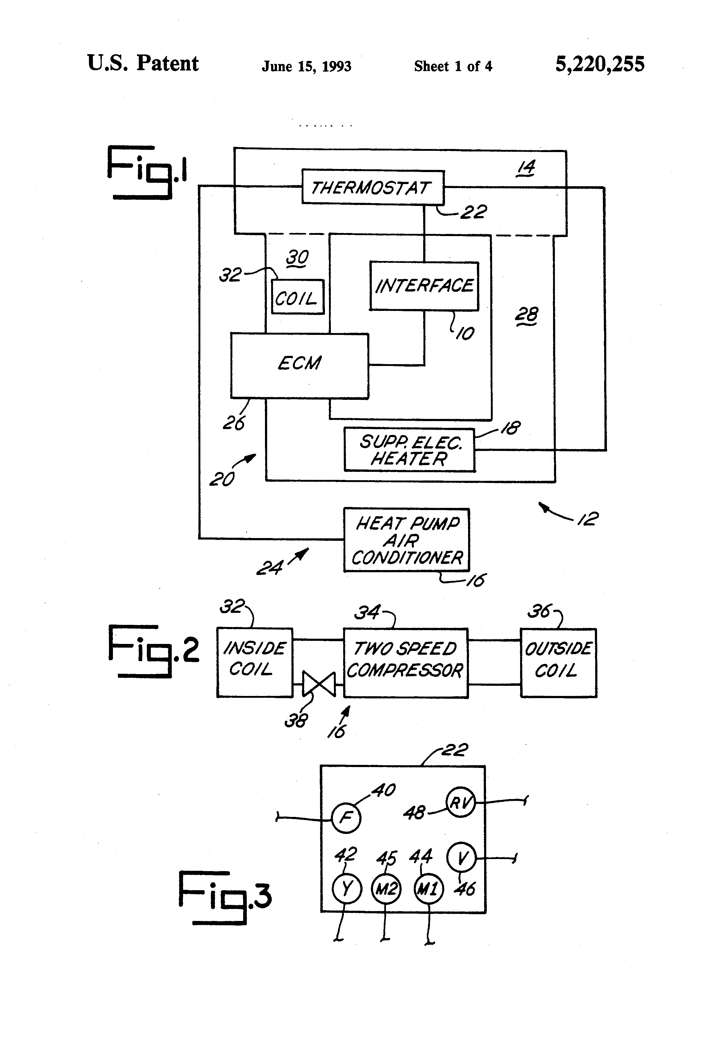 Patent us5220255 interface for interconnecting a for Electronically commutated motor ecm