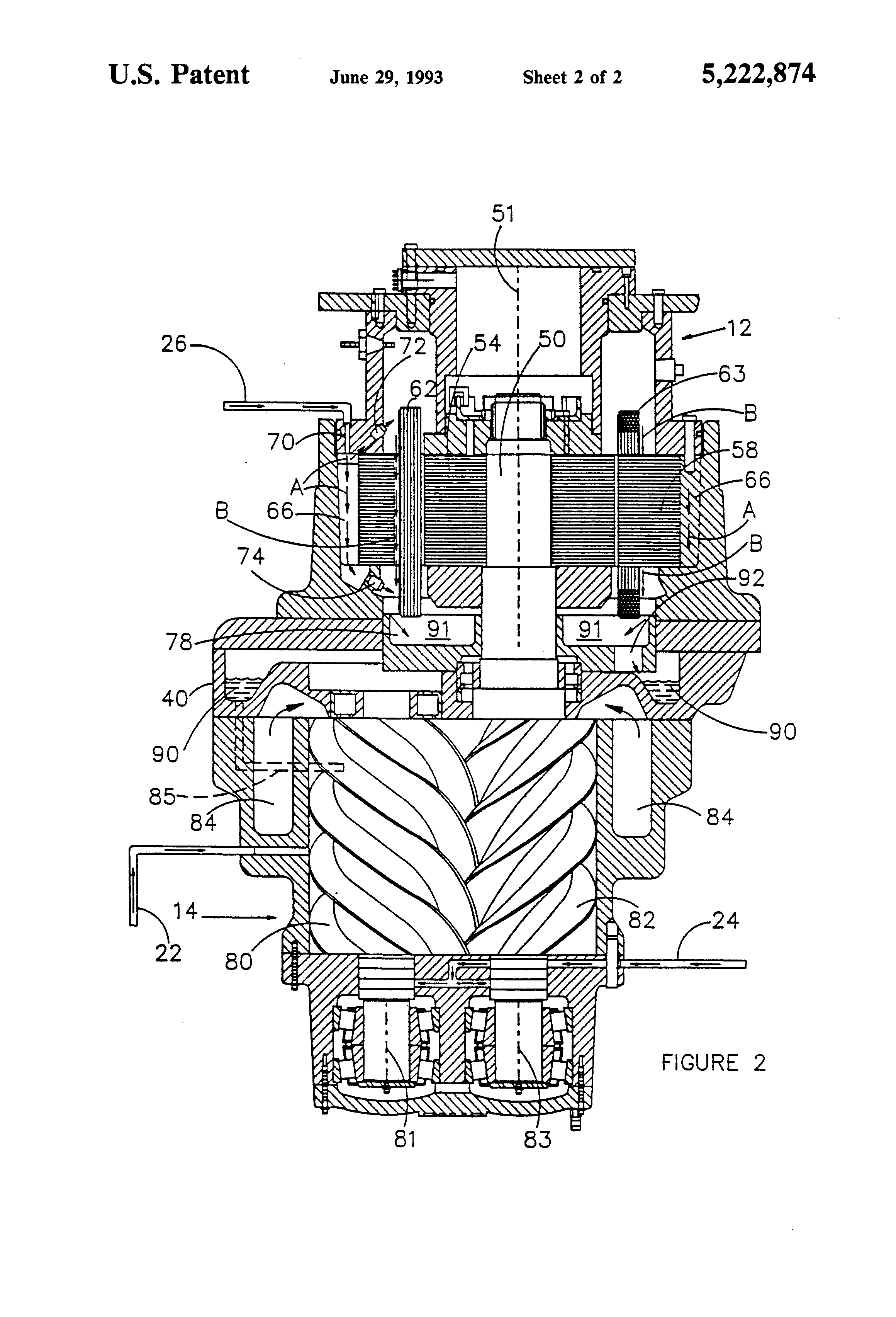 patent us5222874 - lubricant cooled electric drive motor for a compressor