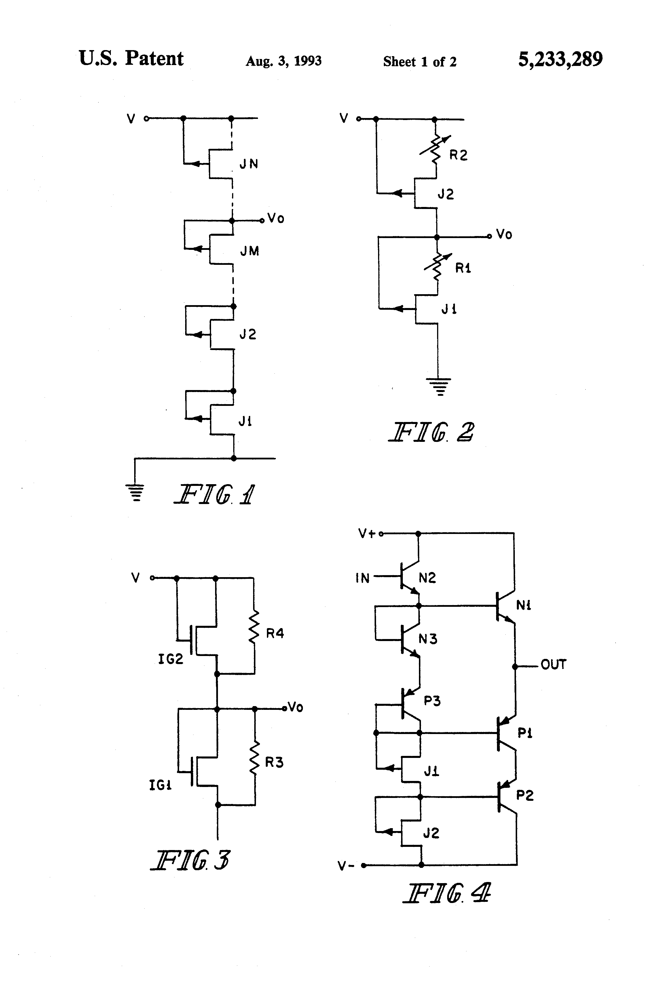 Patente Us5233289 Voltage Divider And Use As Bias Network For Potential Circuit Patent Drawing