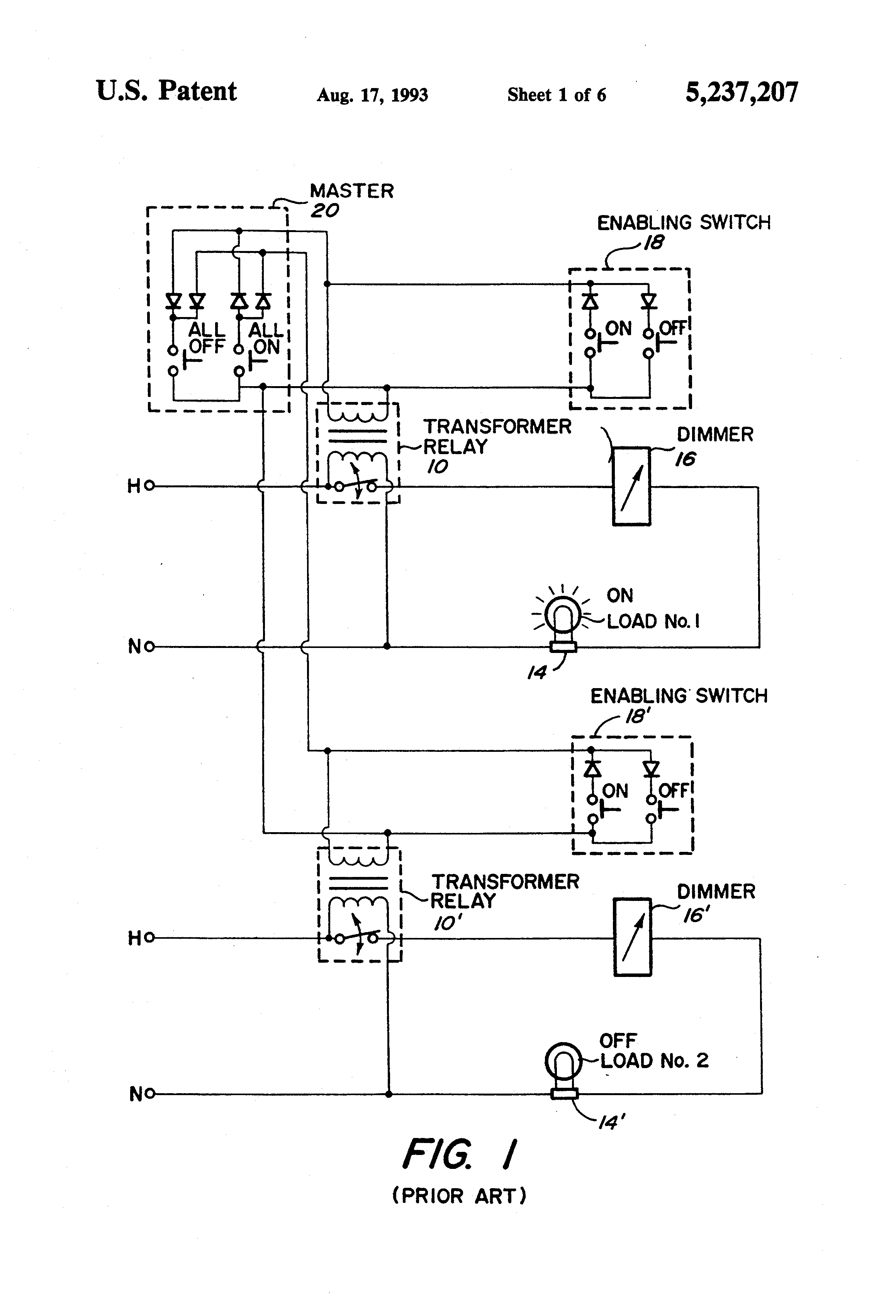 US5237207 1 patent us5237207 master electrical load control system google lightolier easyset dimmer wiring diagram at bayanpartner.co